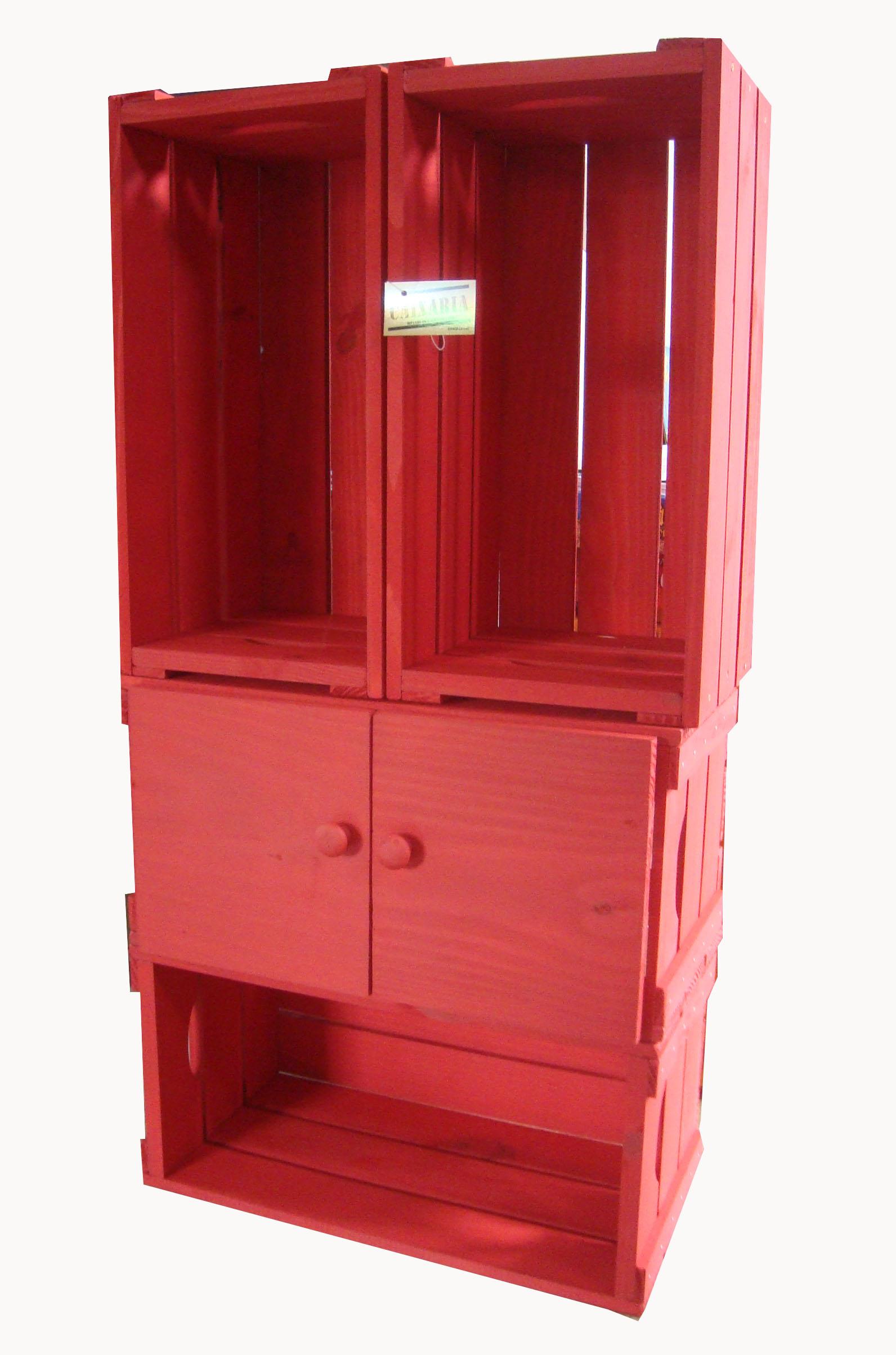 Estante de 4 caixotes com uma porta caixaria m veis elo7 for Porta or