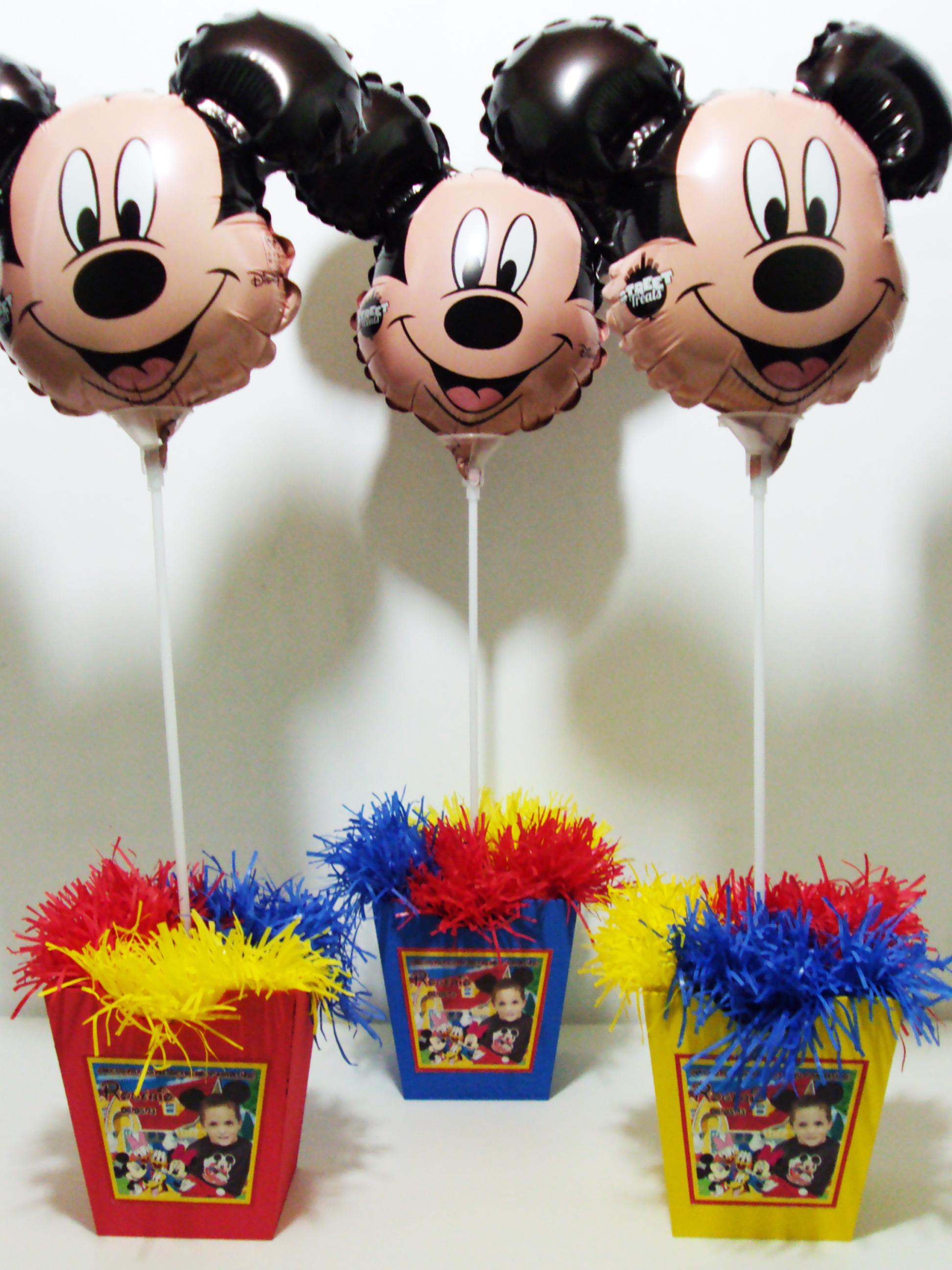 Enfeite De Balão ~ Cachepo Mickey com Bal u00e3o Metalizado DigiArt Kids Elo7