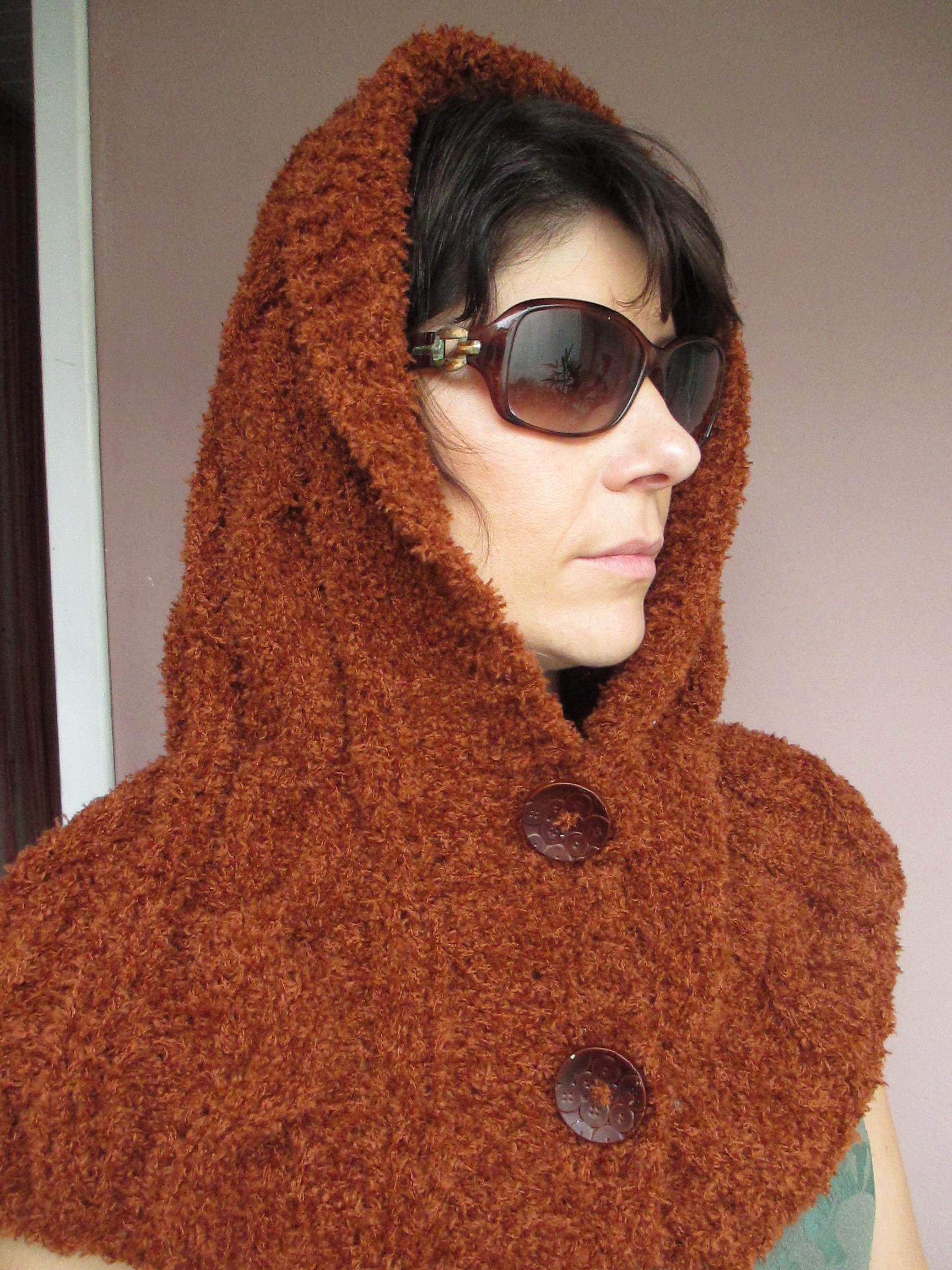 Gola capuz cachecol de tricô Terracota no Elo7  9ca31f9a6f3