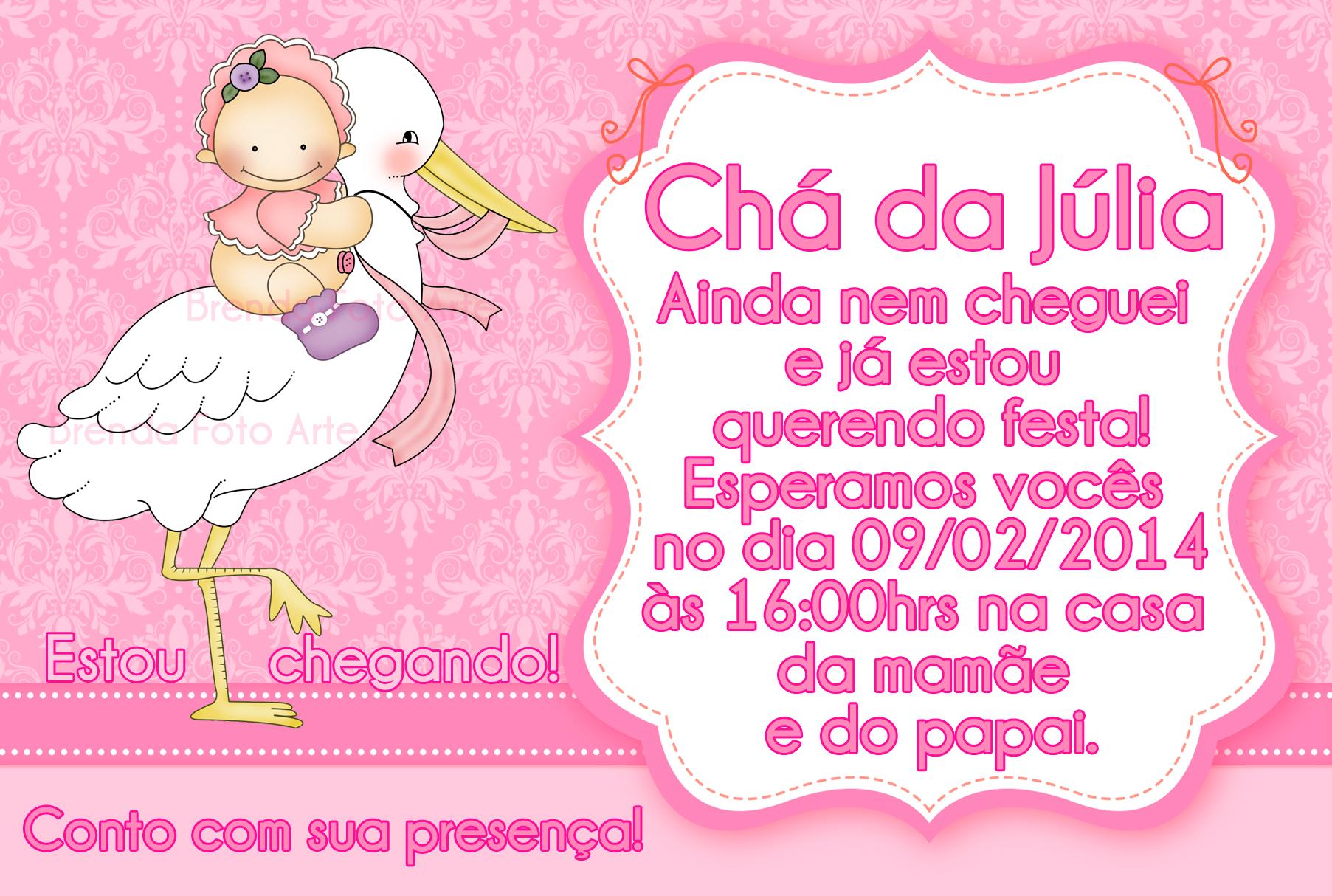 Convite Animado Cha De Bebe Cegonha Rosa Elo7