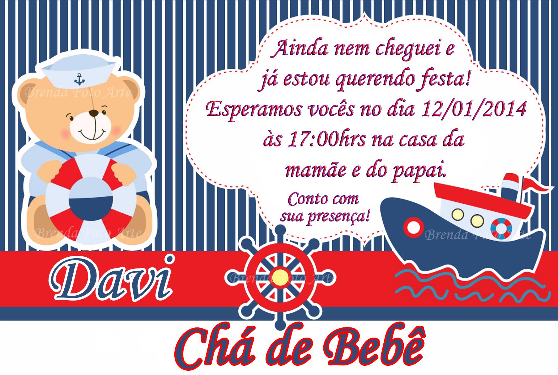 Fabuloso Convite Ursinho Marinheiro no Elo7   Brenda Foto Arte (5162EA) JY77