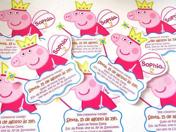 Convite de Aniversário Peppa Pig - 8 unidades