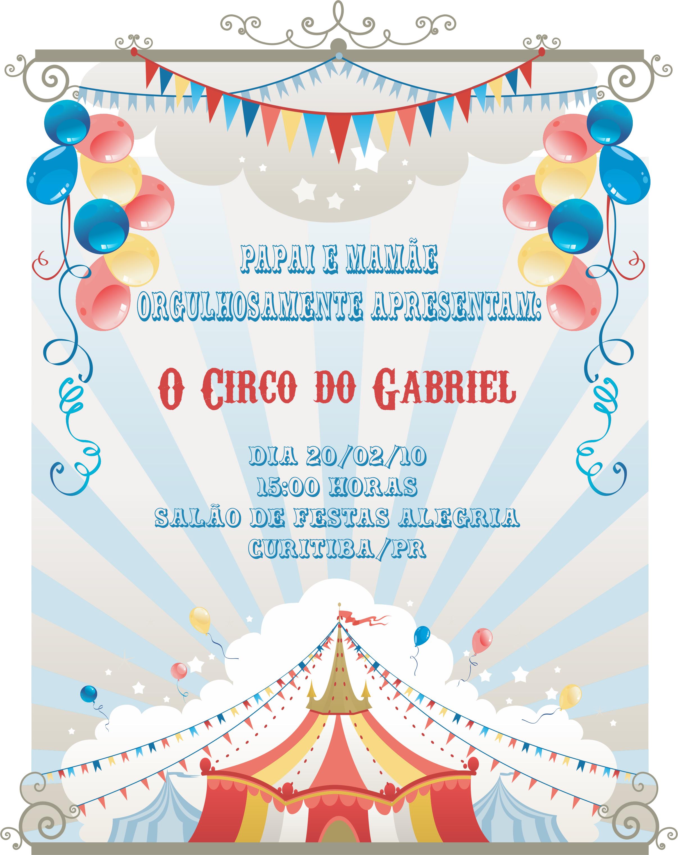 Convite Tema Circo Elo7