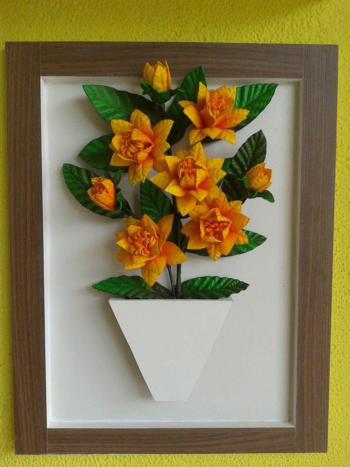 Artesanato Goiania Go ~ Quadro em MDF c Flores de EVA Apiadinho Luna u00b4s Artesanatos Elo7