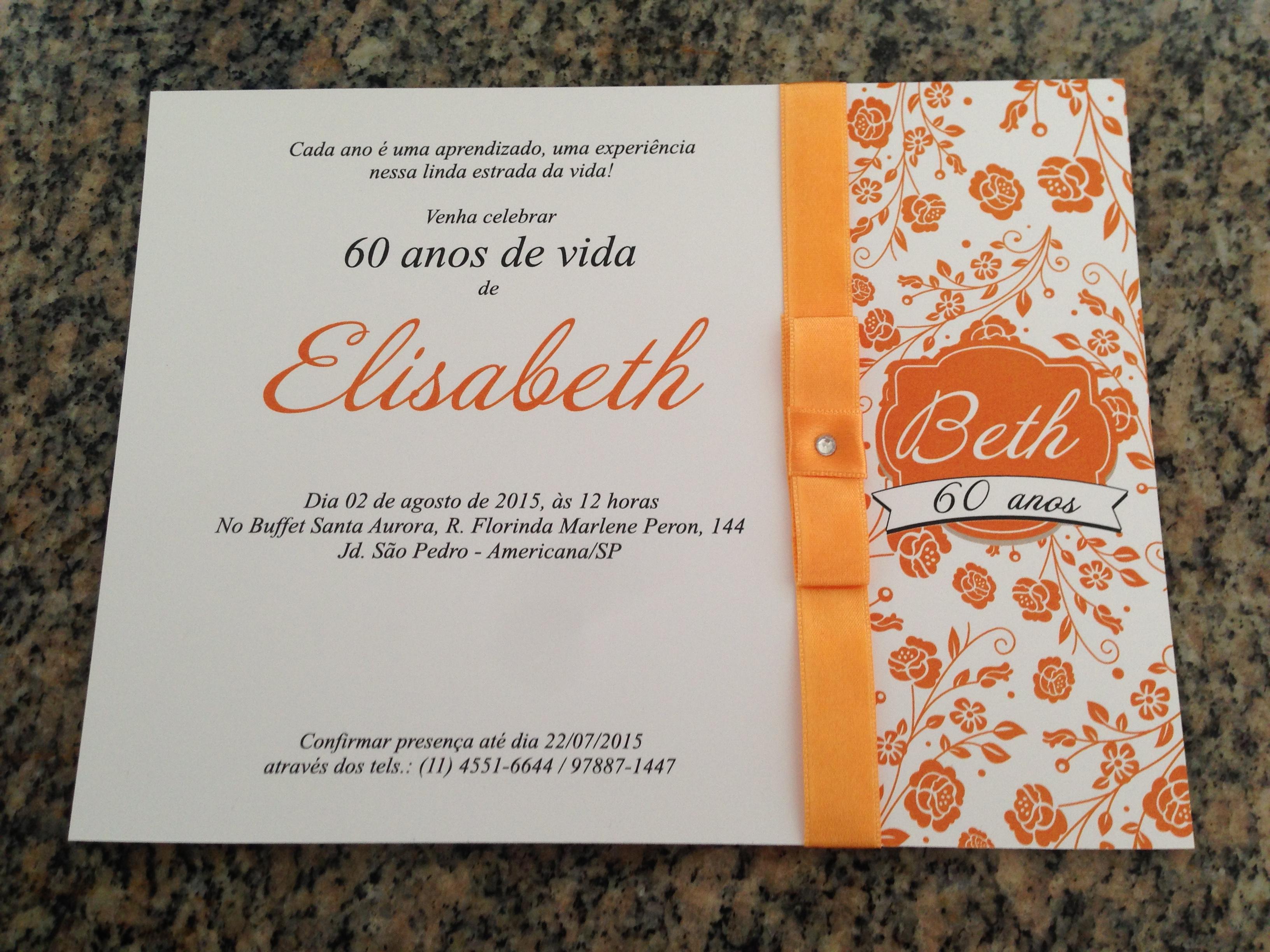 "Quero Montar Meu Convite De 50 Anos: Convite Aniversário 60 Anos ""Elisabeth"""