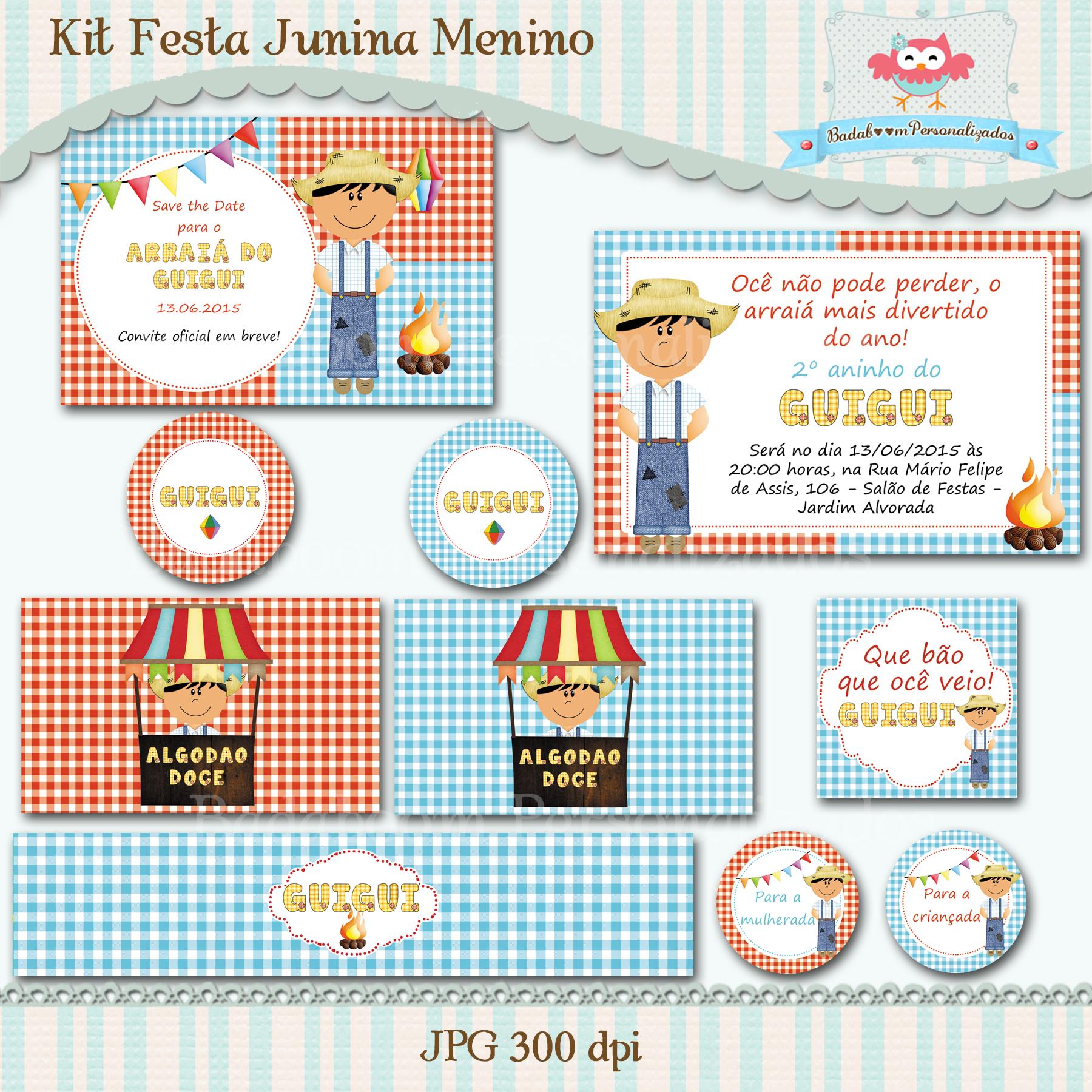 Kit Festa Junina Menino No Elo7 Badaboom Personalizados 5202e2