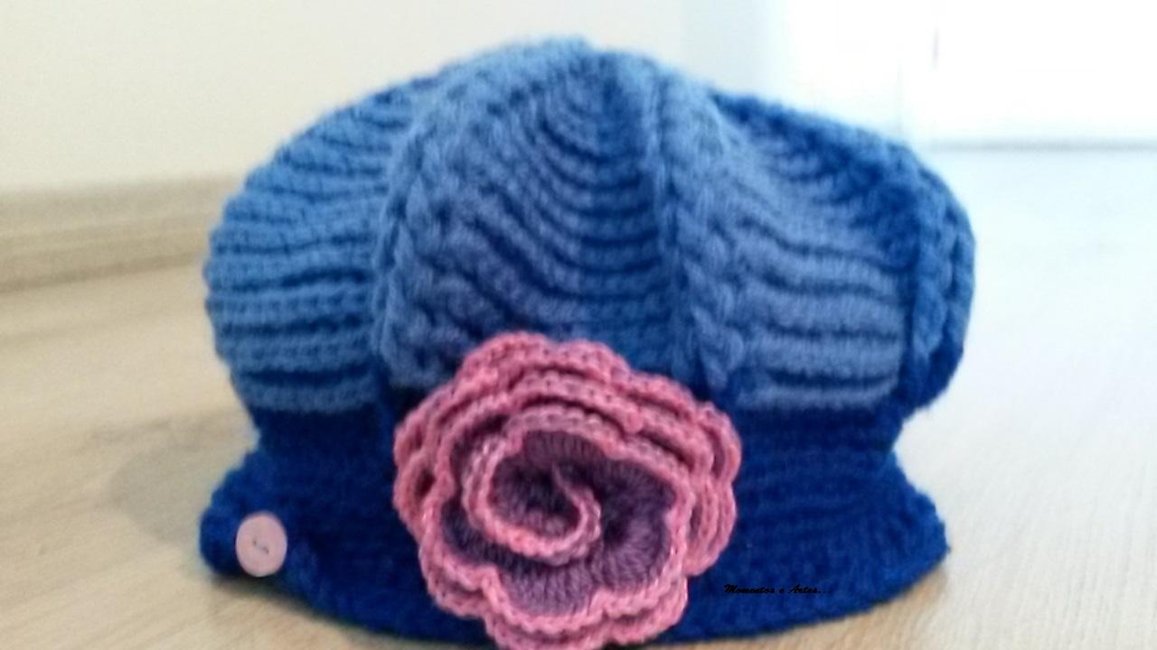 b824eda5cf5de Boina croche azul flor no Elo7