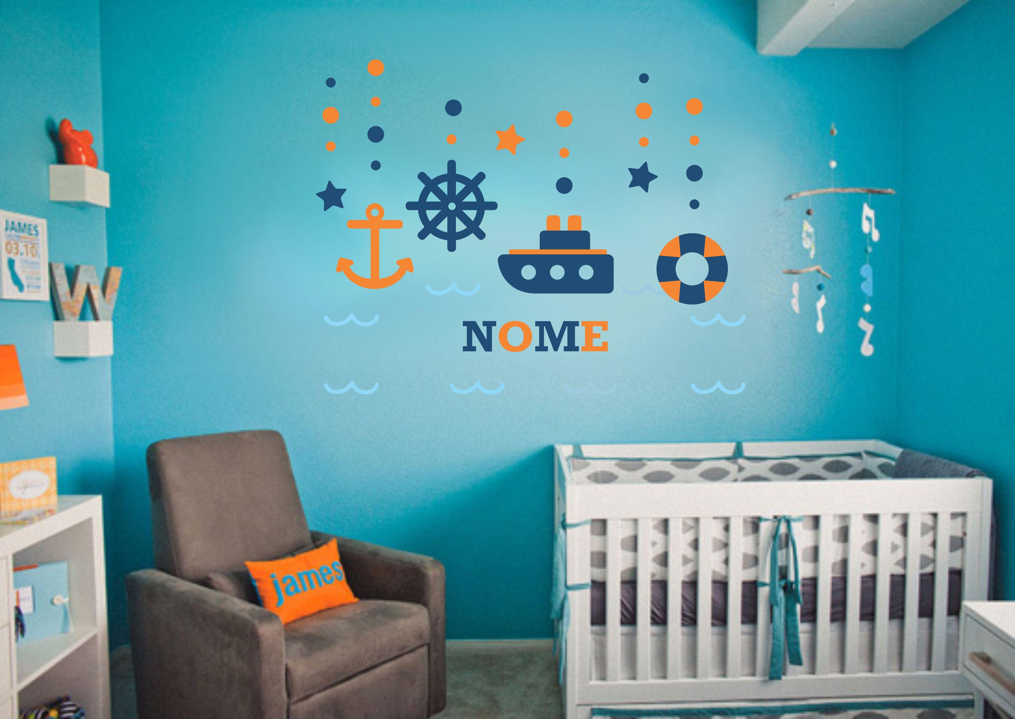 Adesivo Barquinho Nome Personalizado Vistick Adesivos  ~ Adesivos Para Quarto De Bebe Menino
