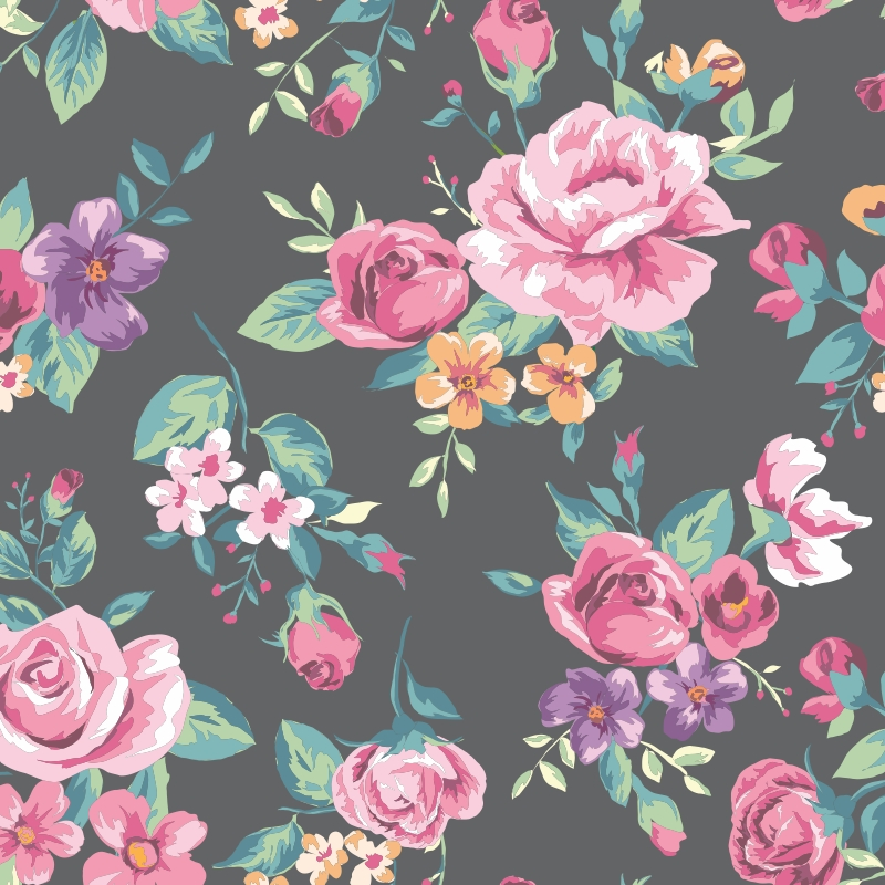 Papel de parede vintage tropical flower qcola elo7 - Papel de pared retro ...