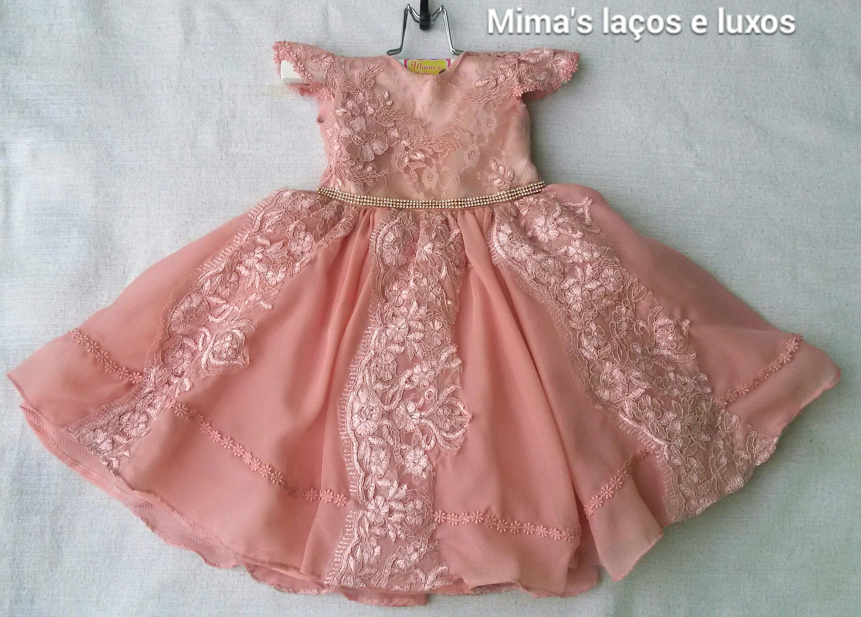ef3ed47476 Vestido luxo rosa envelhecido em renda no Elo7