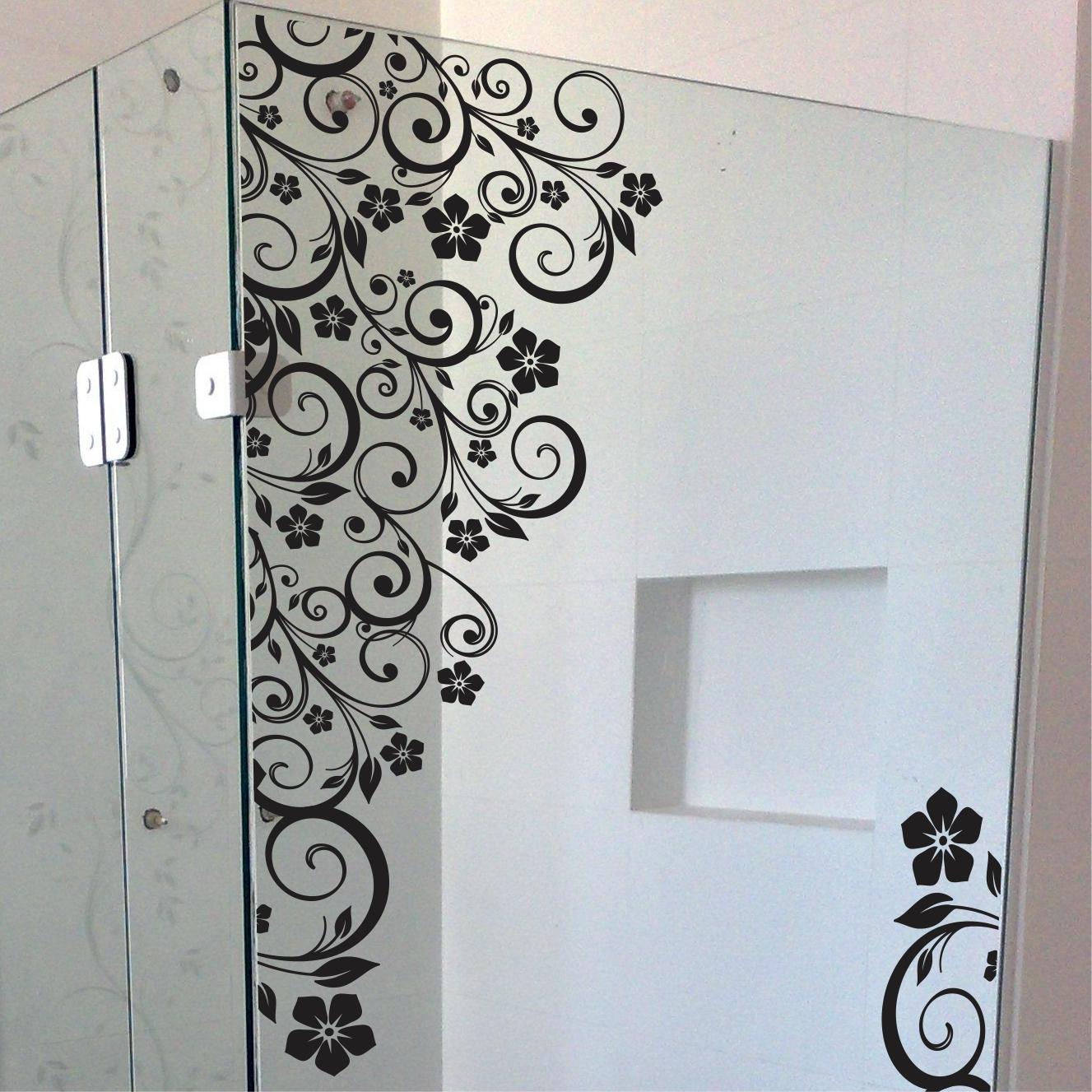 Aparador Tampo De Vidro Branco ~ Adesivo Box Banheiro Floral Blindex Adesivos Sempre Viva