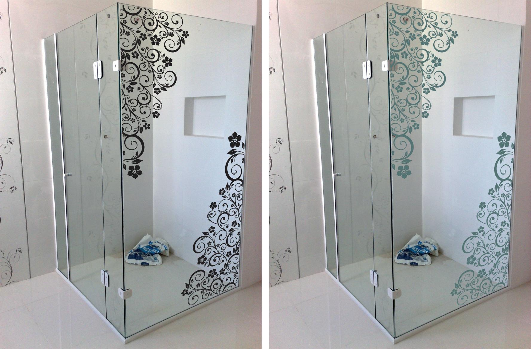 adesivos box adesivo box banheiro floral blindex adesivos de parede #3B4F5F 1777x1168 Adesivos Para Box De Vidro Banheiro
