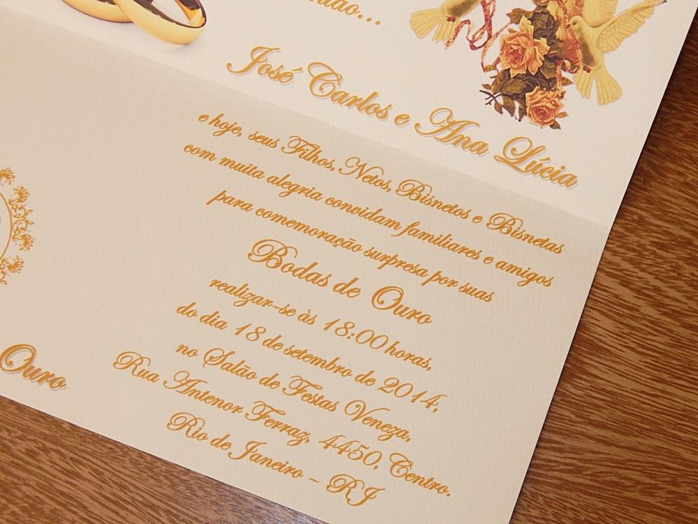 Convite Ibiza Bodas De Ouro Palha No Elo7 Papelac Convites Loja 01