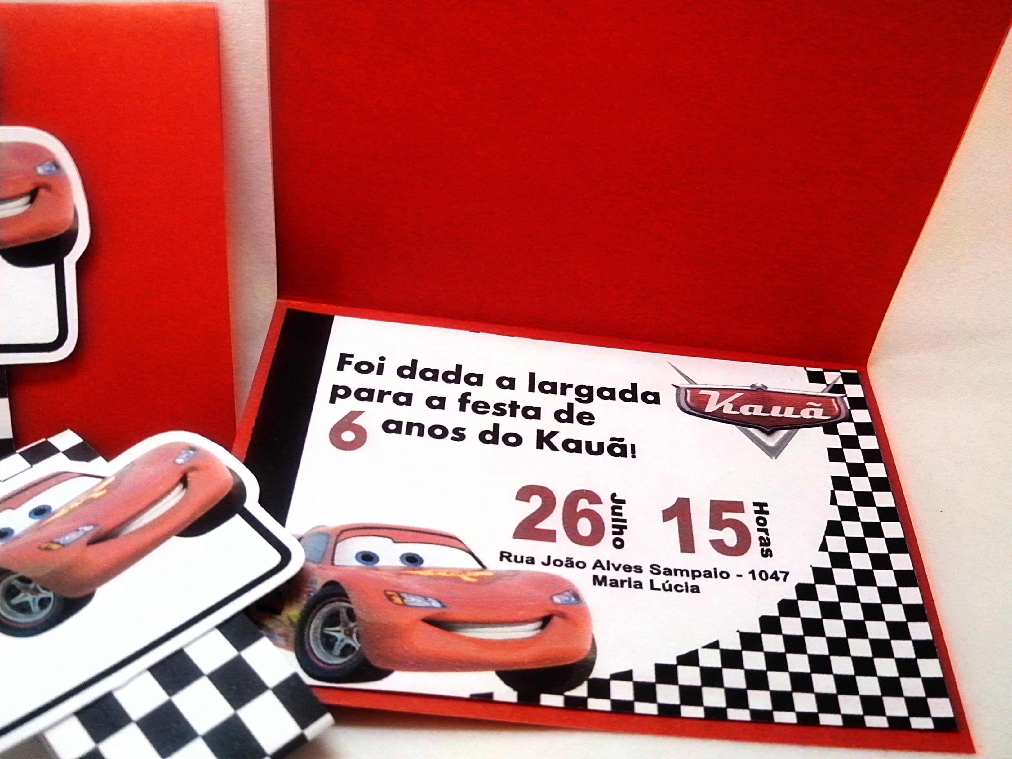 Convite Aniversário Carros Elo7