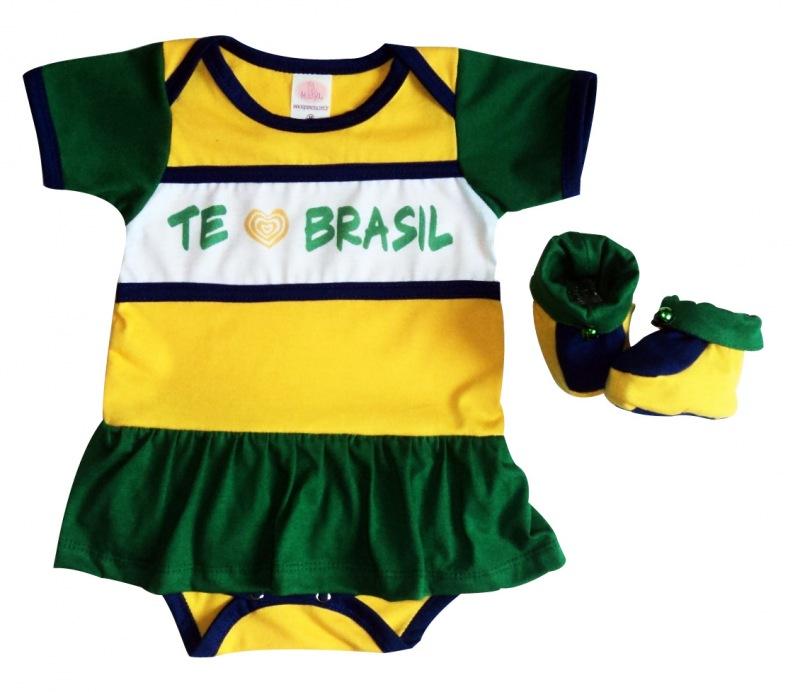 ec14088ff1 Body te amo Brasil Bebê menina c  sapato no Elo7