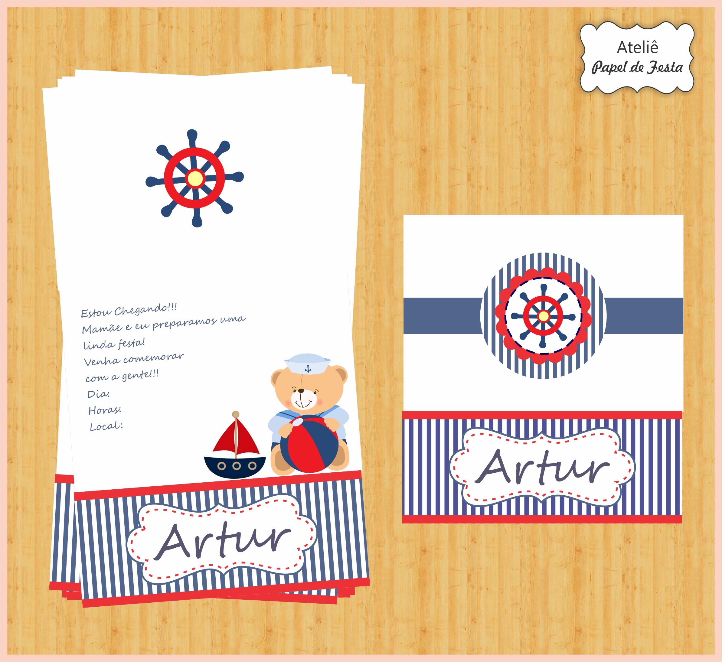 Muito Convite urso marinheiro no Elo7   Atelie Papel de Festa (56554B) RD92
