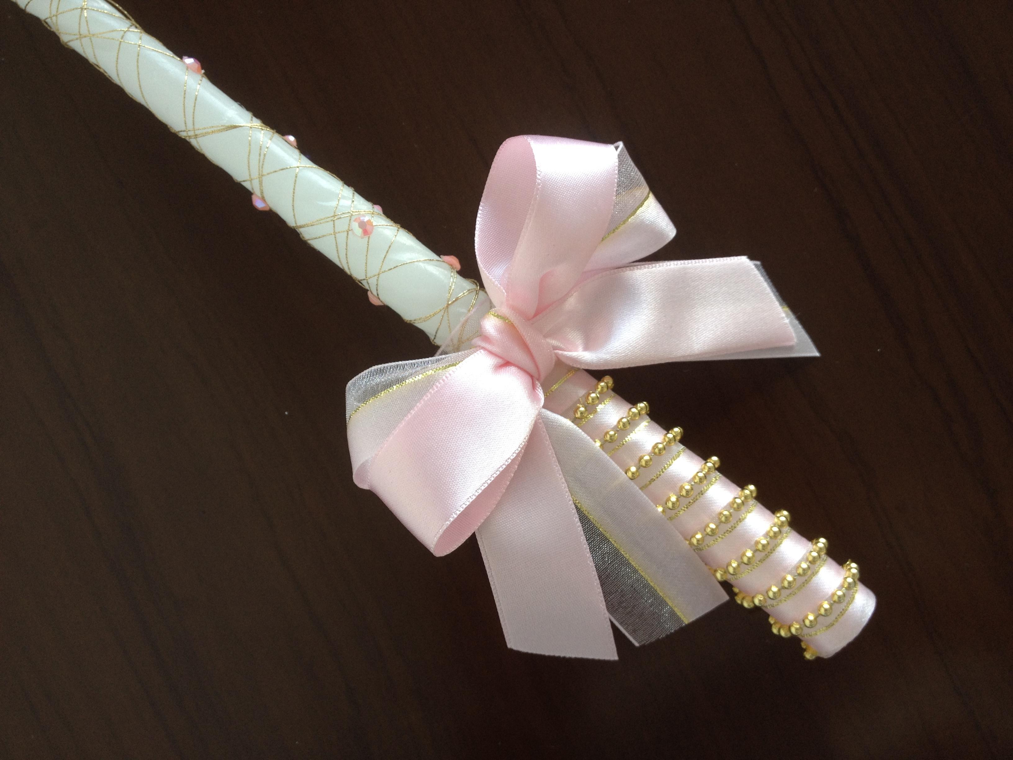 Vela decorada rosa com dourado andressa ferrari arte for Como decorar c