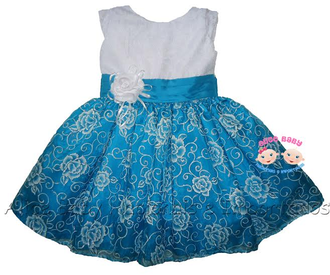 Vestido festa azul e branco
