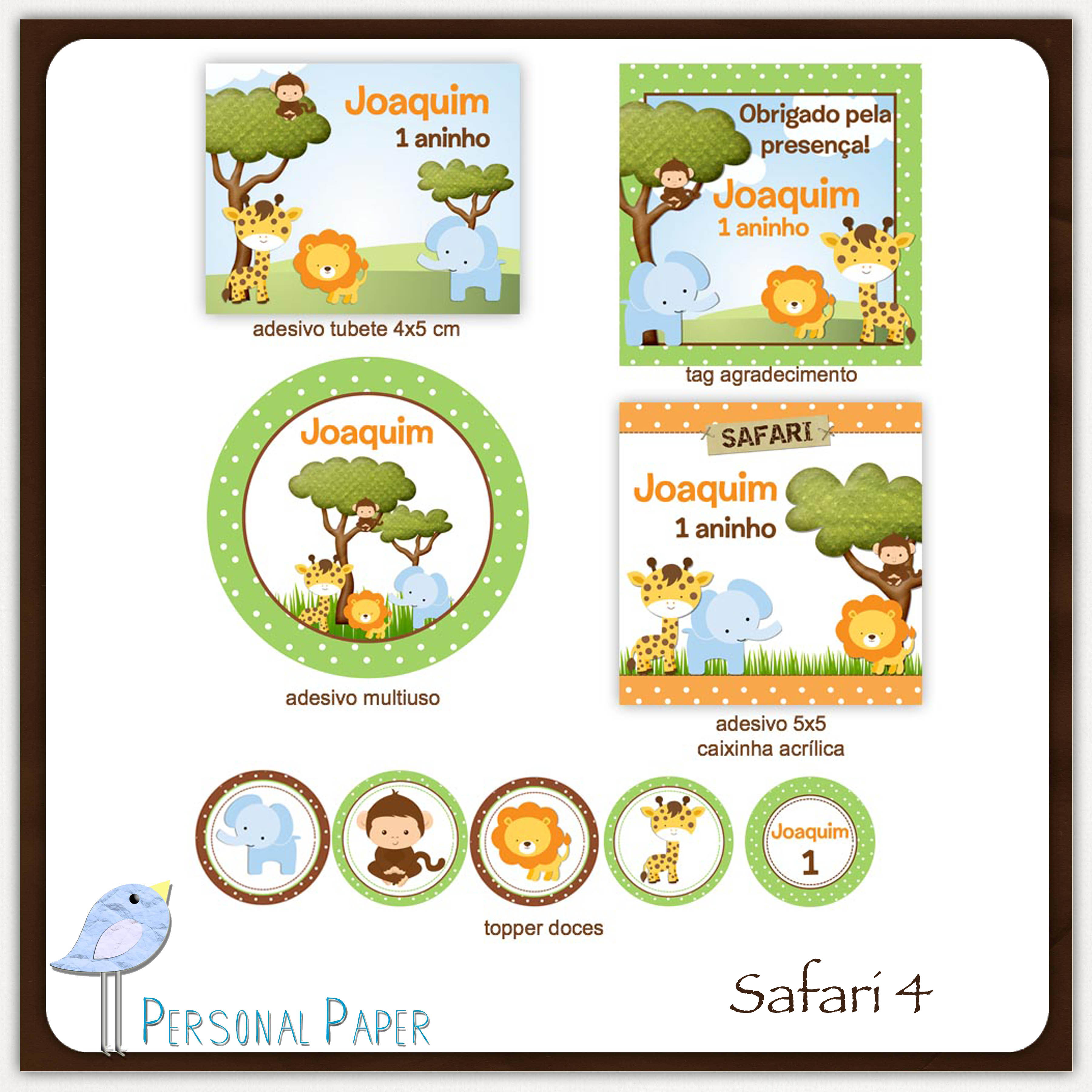 Kit Digital Safari Para Imprimir No Elo7 Atelier Doces Mimos