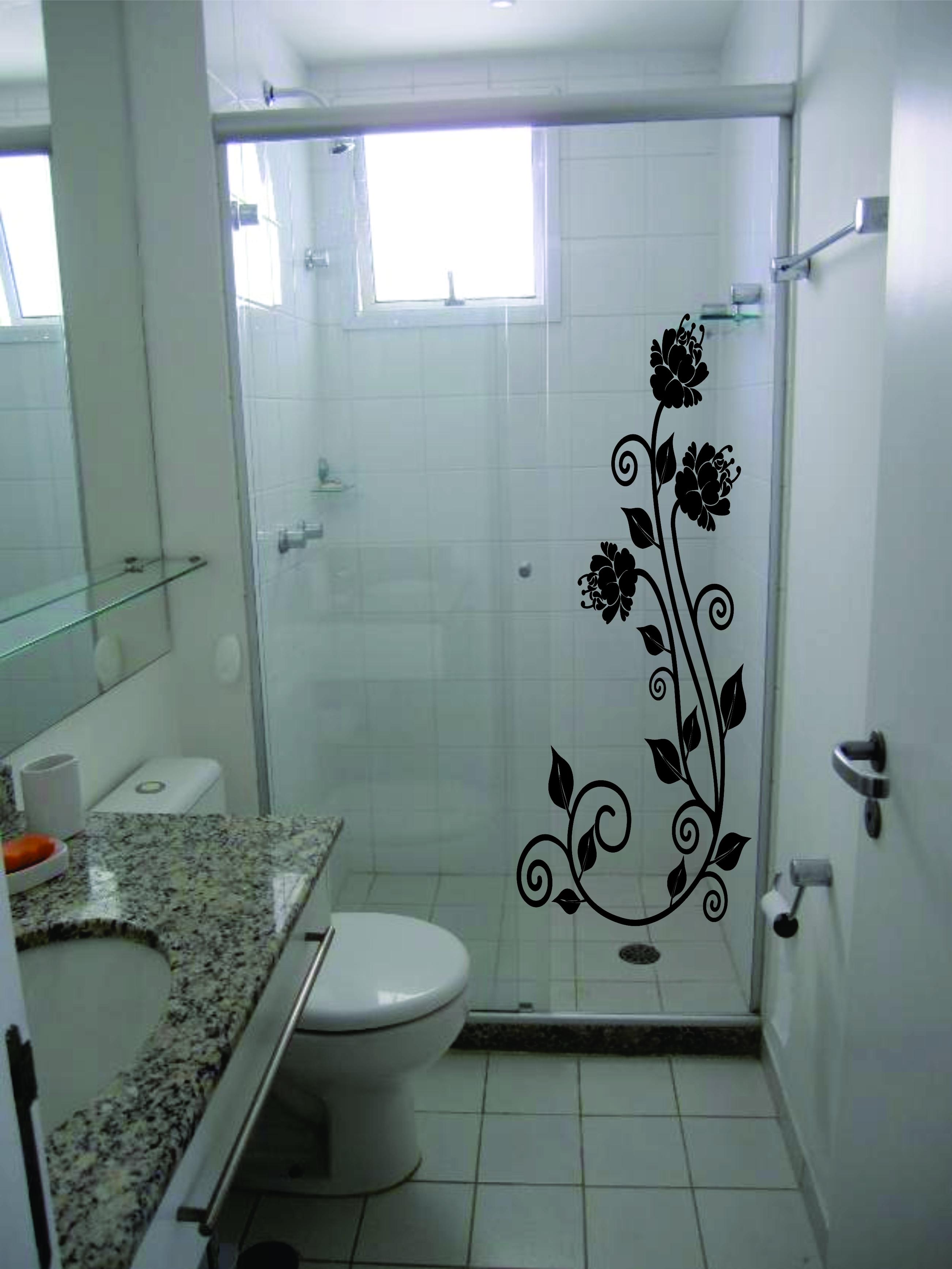 Adesivo Box Blindex banheiro  Adesivos Sempre Viva  Elo7 -> Box Banheiro Blindex Decorado