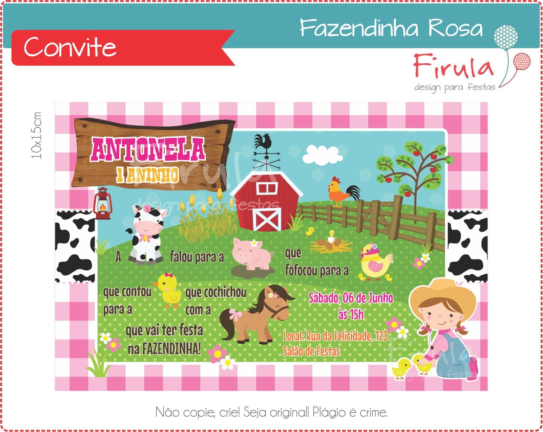 Convite Digital Fazendinha Rosa No Elo7 Firula Festas 5794c0
