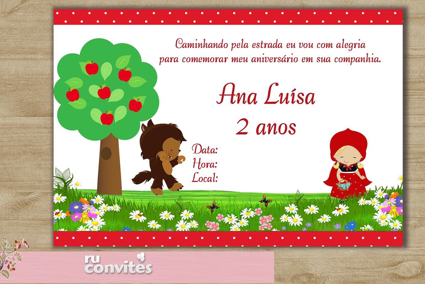 Frases Para Lembrancinhas De Aniversario: Convite Chapeuzinho Vermelho (570)