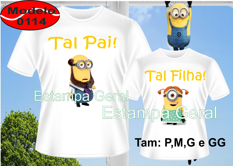 0fe4adba27a0 Camiseta Pai Mae Filho e Filha Carinhas de Minions   Elo7