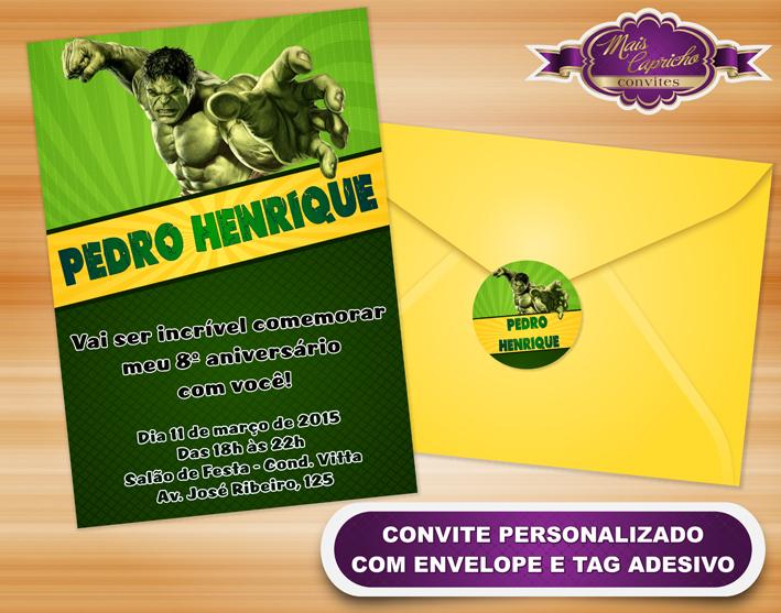 Convite Virtual O Incrivel Hulk Elo7