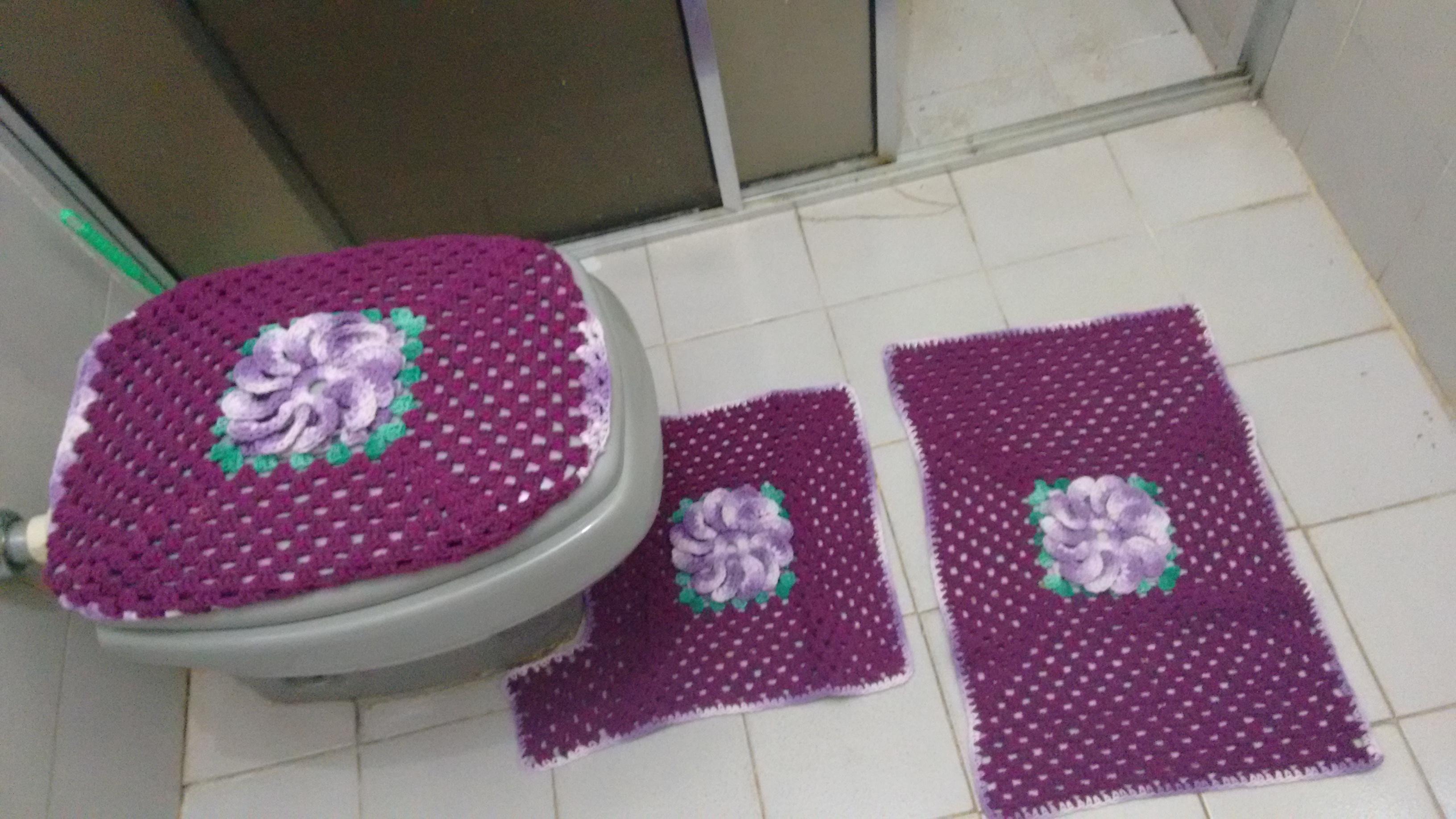 Kit Para Banheiro Artesanato ~ Jogo de banheiro em barbante croche Rhe Art s& Aromas