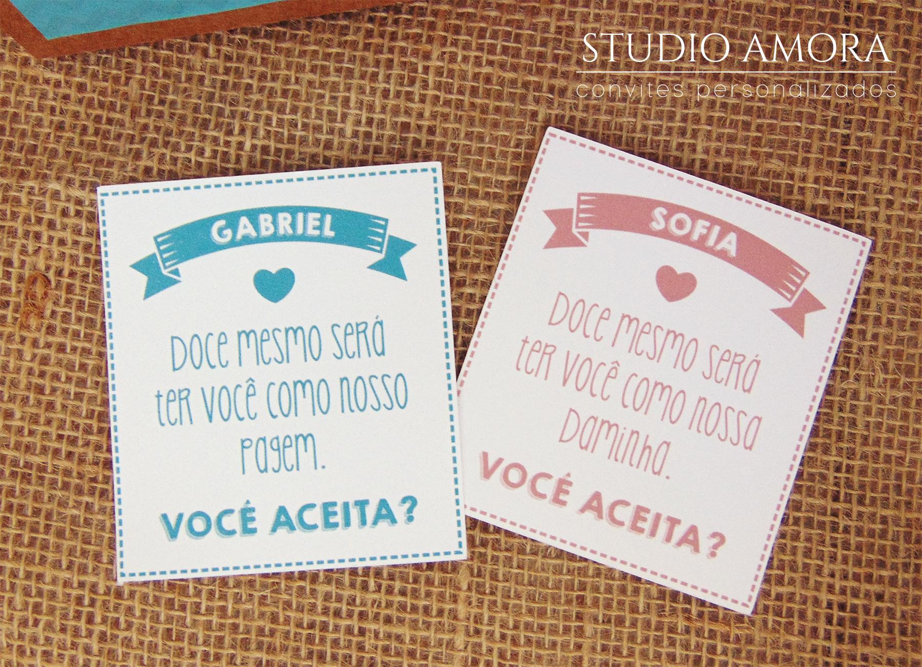 Convite daminha e pagem | Estúdio Amora | Elo7