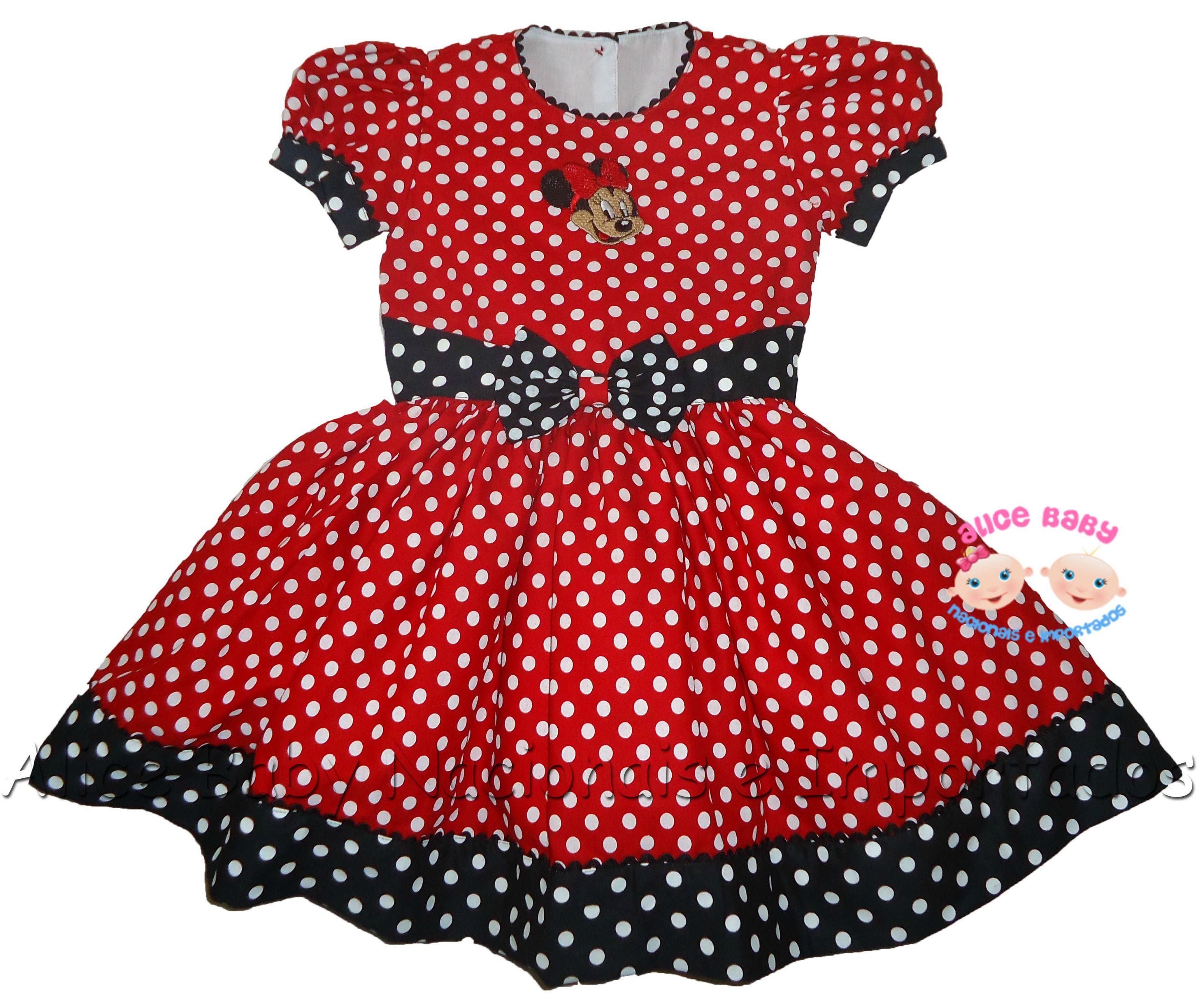 cae515f1b06 Vestido Minnie Vermelho e Preto