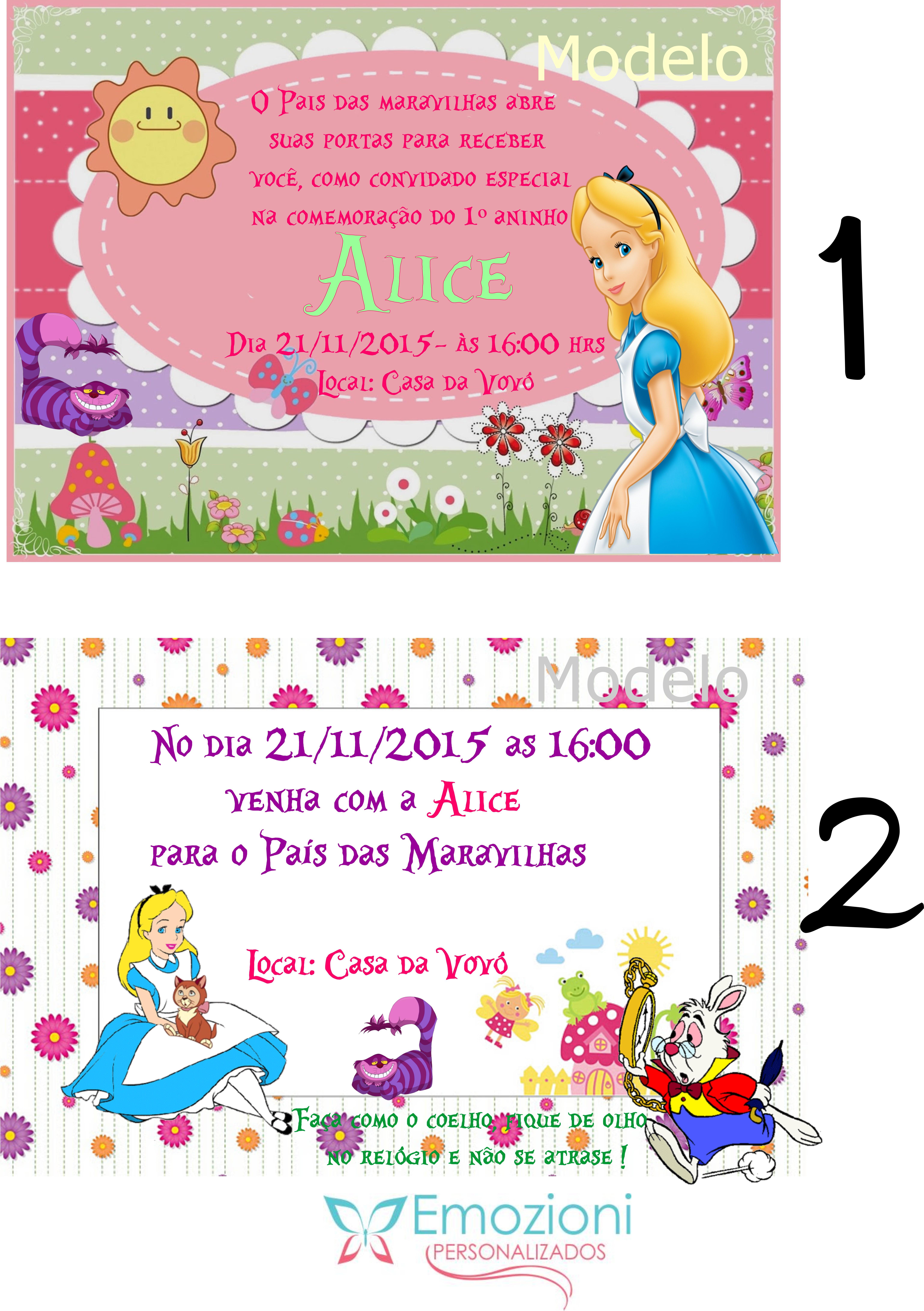 Convite Alice No Pais Das Maravilhas No Elo7 Emozioni