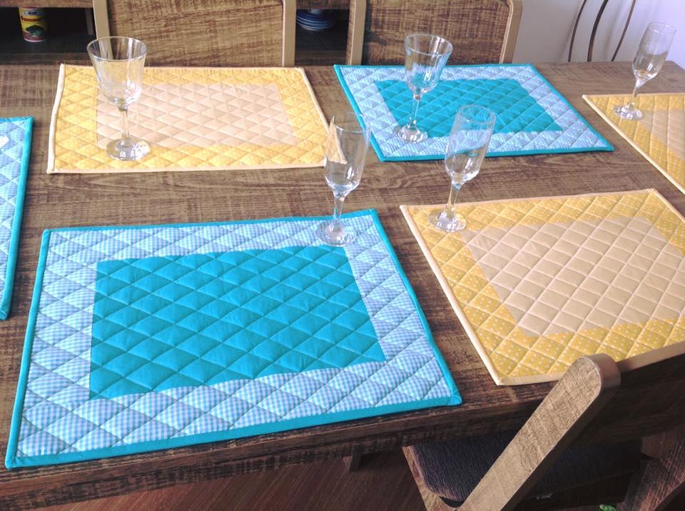 Jogo americano azul tiffany com amarelo patchwork no for Tiffany sito americano