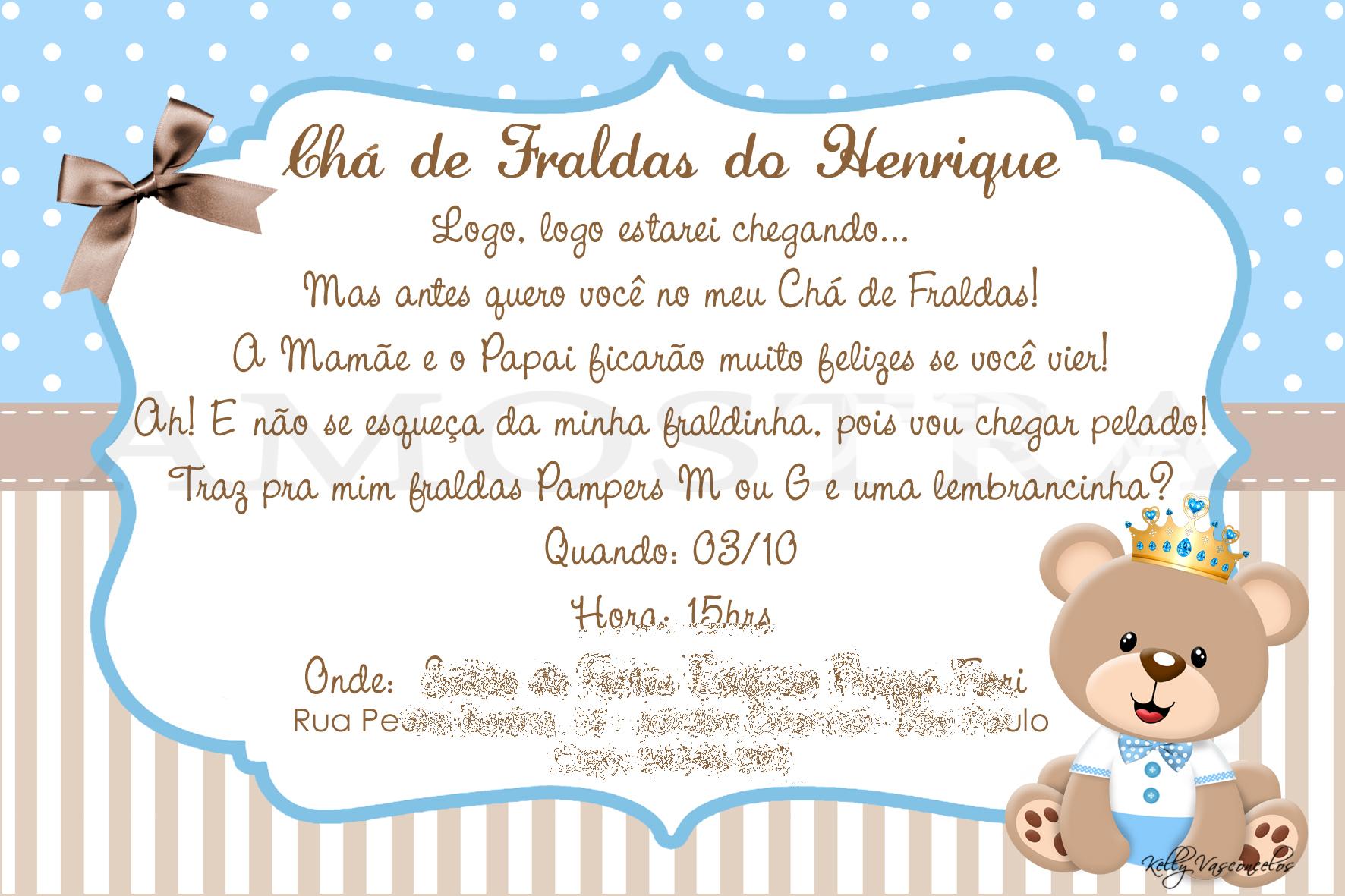 Mensagem De Convite De Cha De Fralda: Convite Para Cha De Fralda De Ursinho DA82