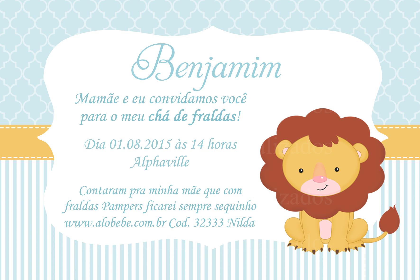 Convite Chá De Bebê Leãozinho Arte No Elo7 Badaboom