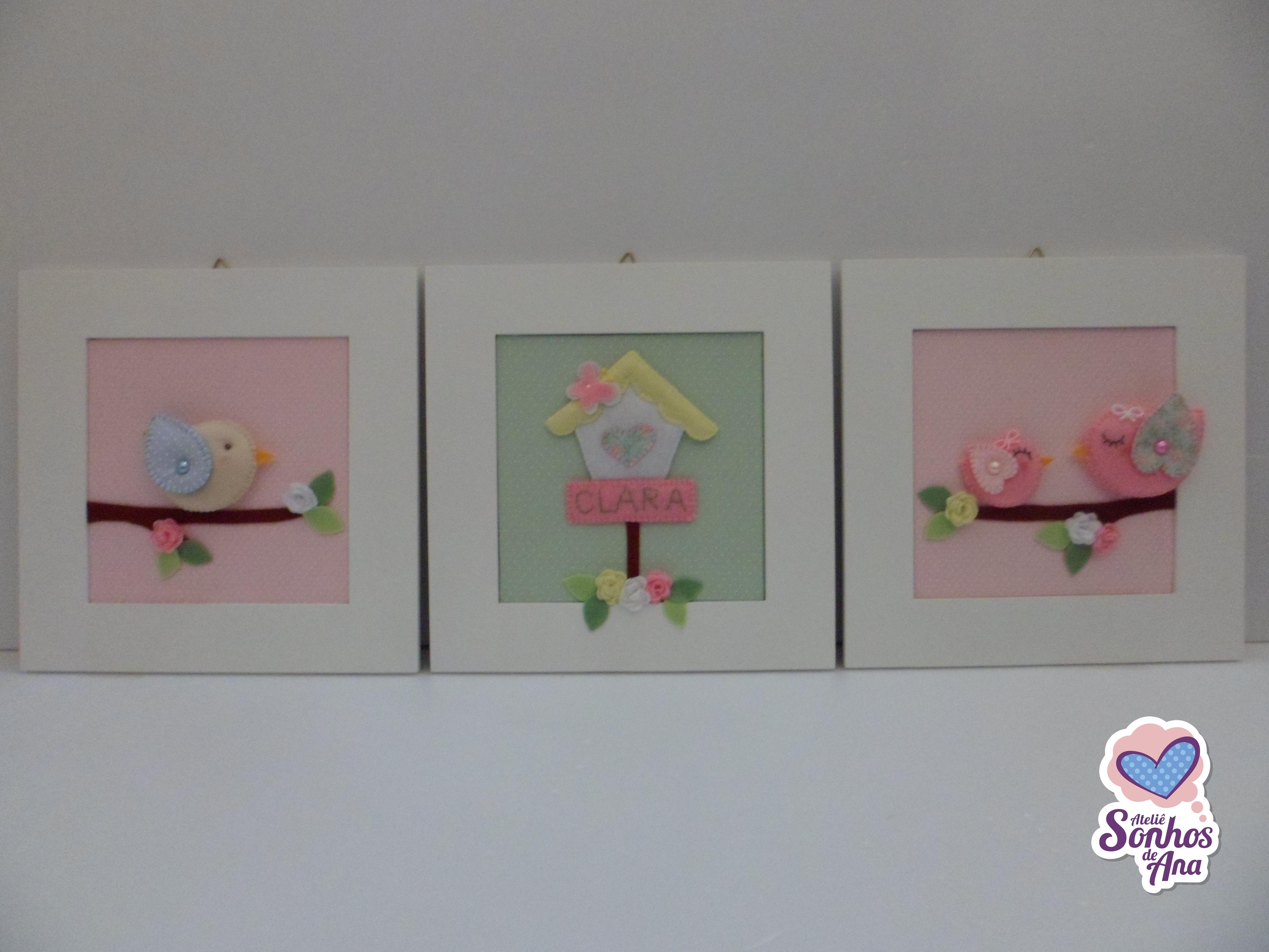 Trio de quadros Passarinhos  Ateliê Sonhos de Ana  Elo7