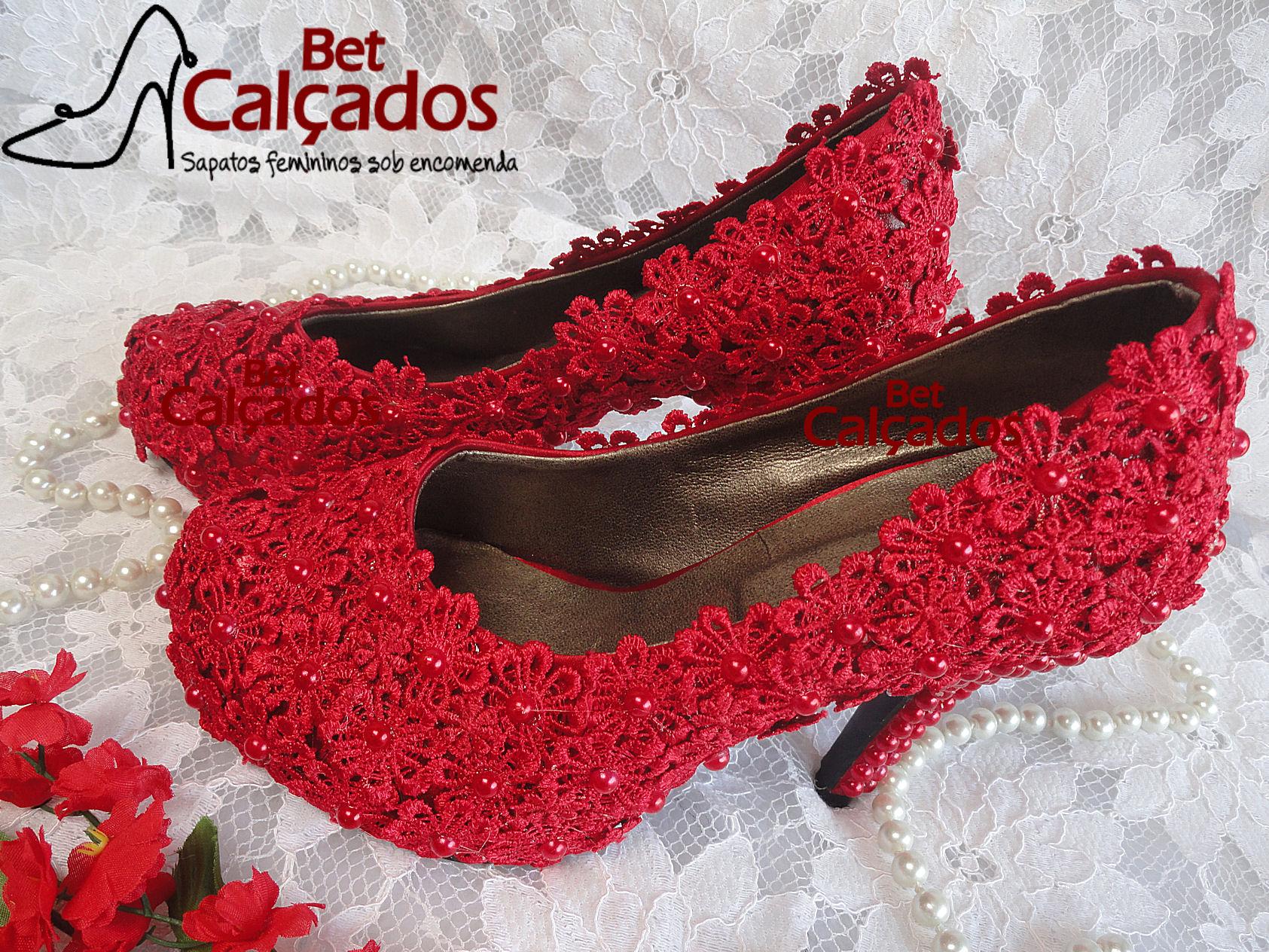 ae4e6e9b27 Sapato Rendado Noiva LUXO vermelho no Elo7