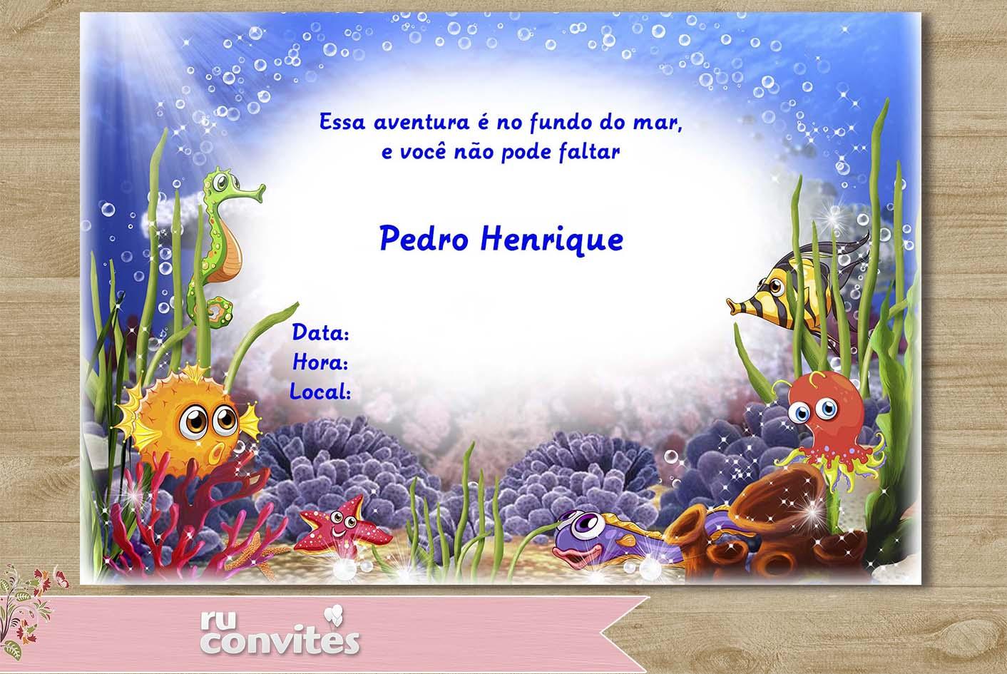 Convite Fundo Do Mar Elo7