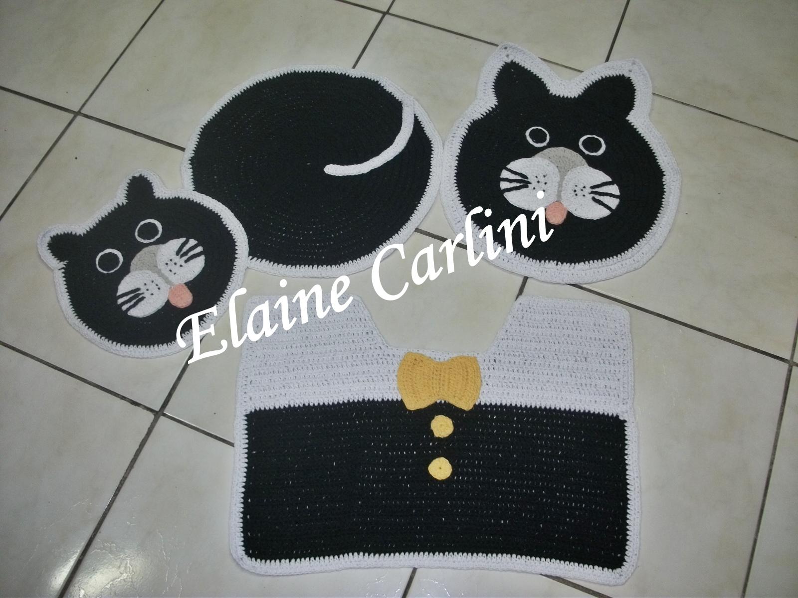 Jogo de banheiro Gato  Elaine Carlini  Elo7