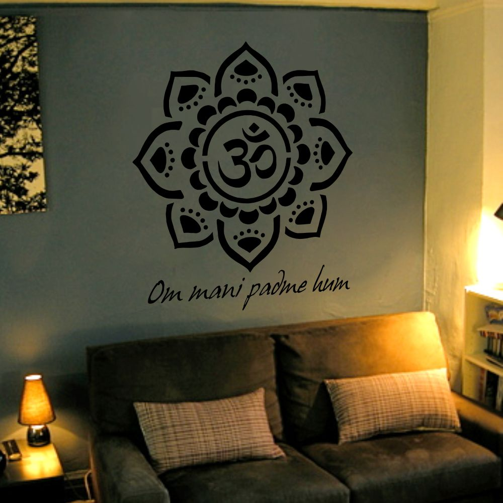 Como Fazer Artesanato Reciclagem De Garrafa Pet ~ Adesivo de Parede Mandala Om Mani ARTM decoraç u00e3o criativa Elo7