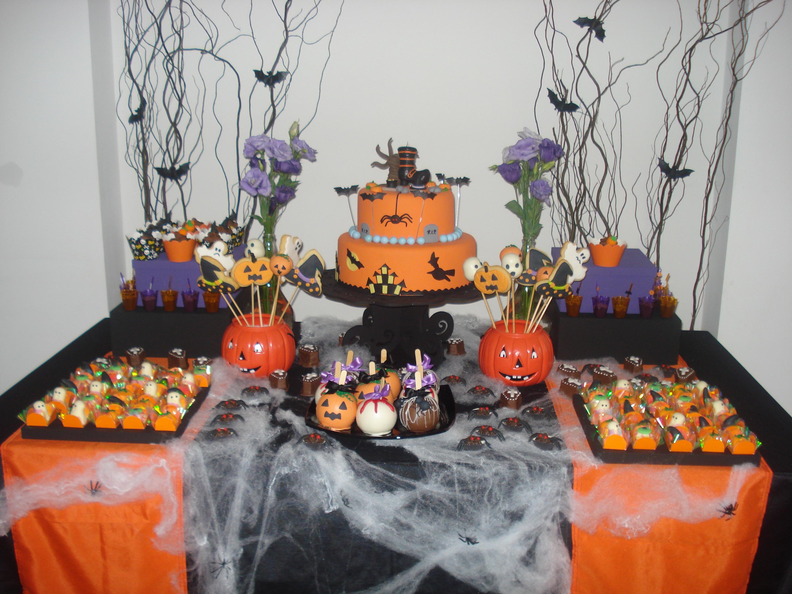 Aluguel Decoraç u00e3o Festa Halloween Blue Pink Elo7 -> Decoracao Para Mesa Halloween