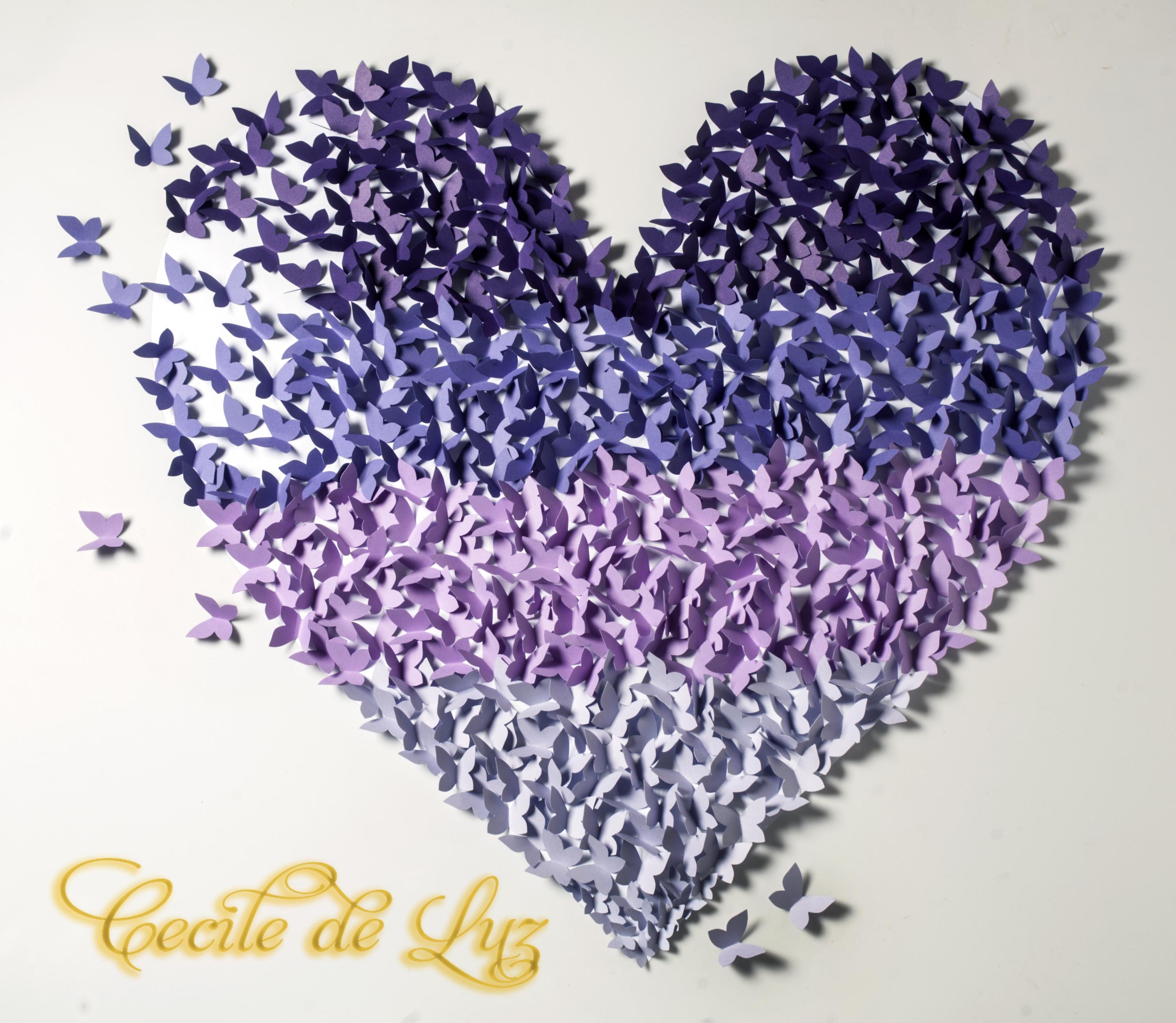 Painel Cora O De Borboletas 40 X 40 Cm Cecile De Luz Flores E  ~ Painel De Fotos Para Quarto Coração