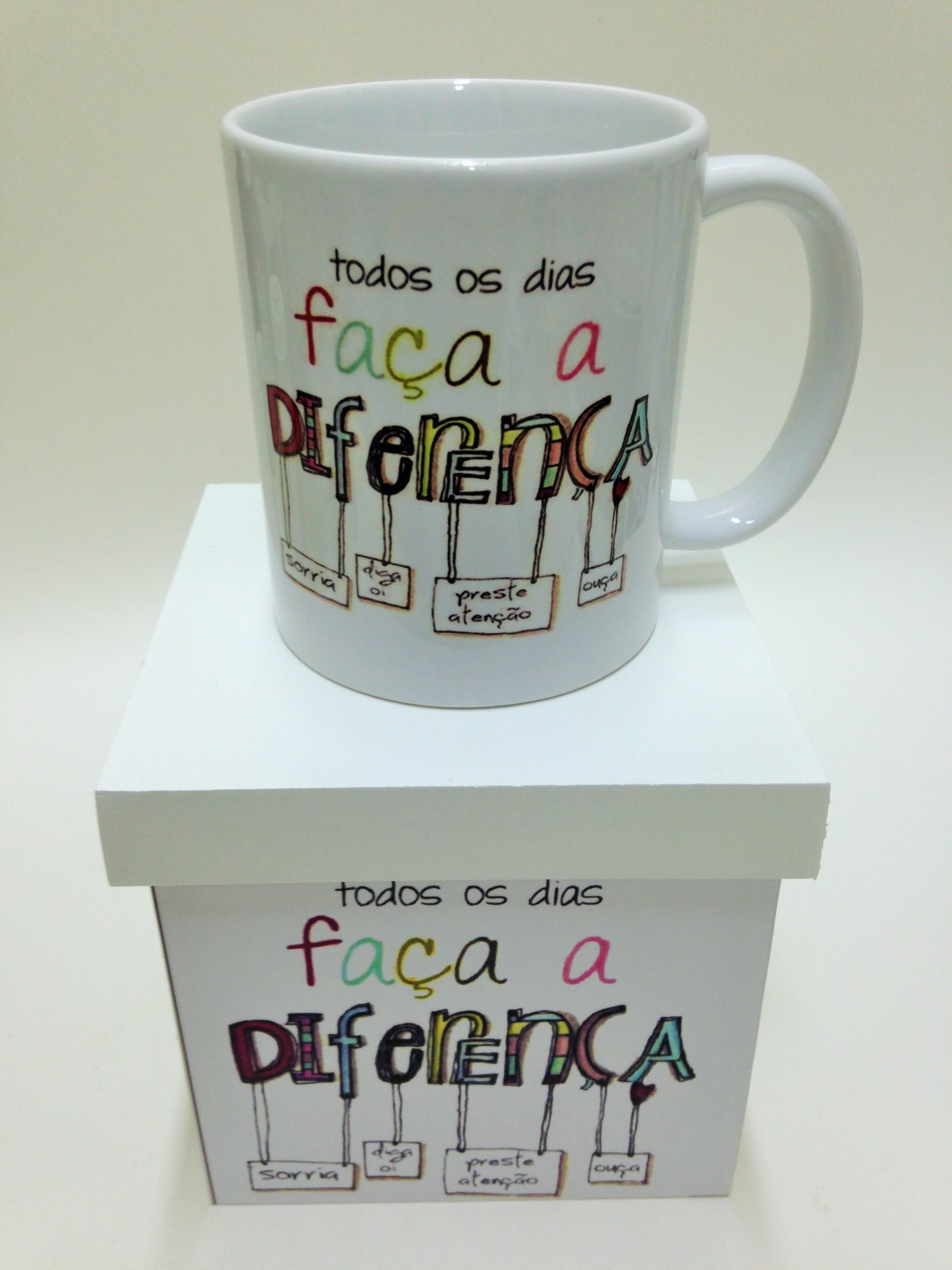 Caixa E Caneca Personalizada Frase