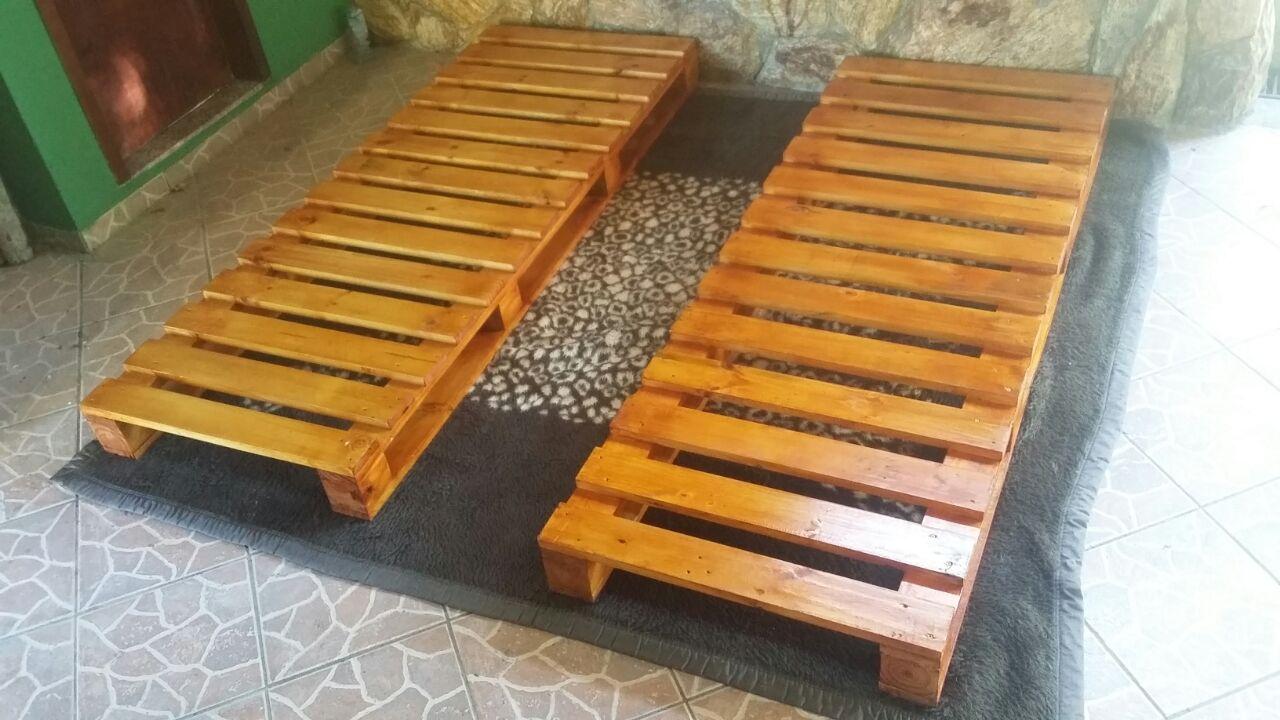 Bases de cama de pallet casal solteiro carllos for Cama palets