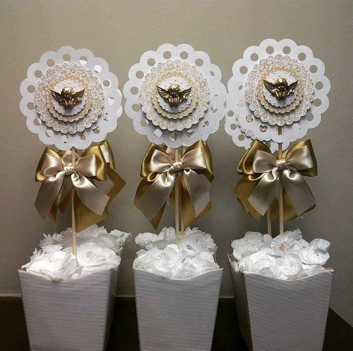 Centro de Mesa Batizado Dourado Ana Agostini Decorações Elo7 -> Decoracao Centro De Mesa Batizado