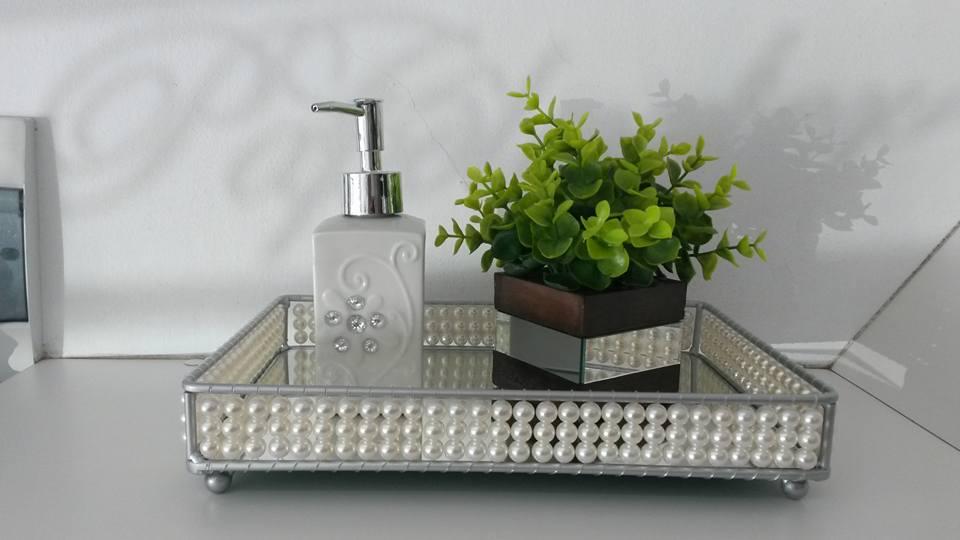 Bandeja de pérola espelhada  Artpérola  Elo7 -> Decoracao Banheiro Bandeja