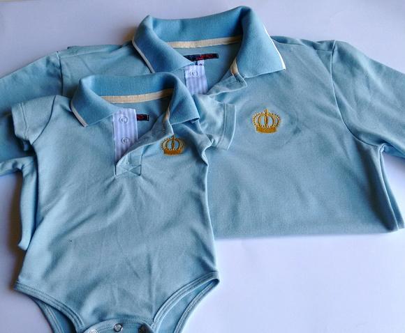 Camisa Polo Tal Pai Tal Filho Azul bebê no Elo7  e73928a814d14
