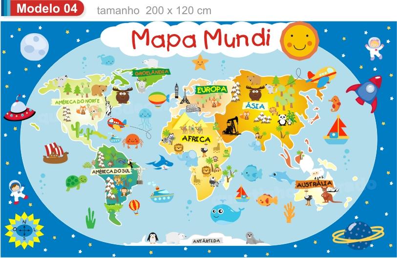 Papel de Parede Mapa Mundi Infantil M13  QuartinhoDecorado  Elo7