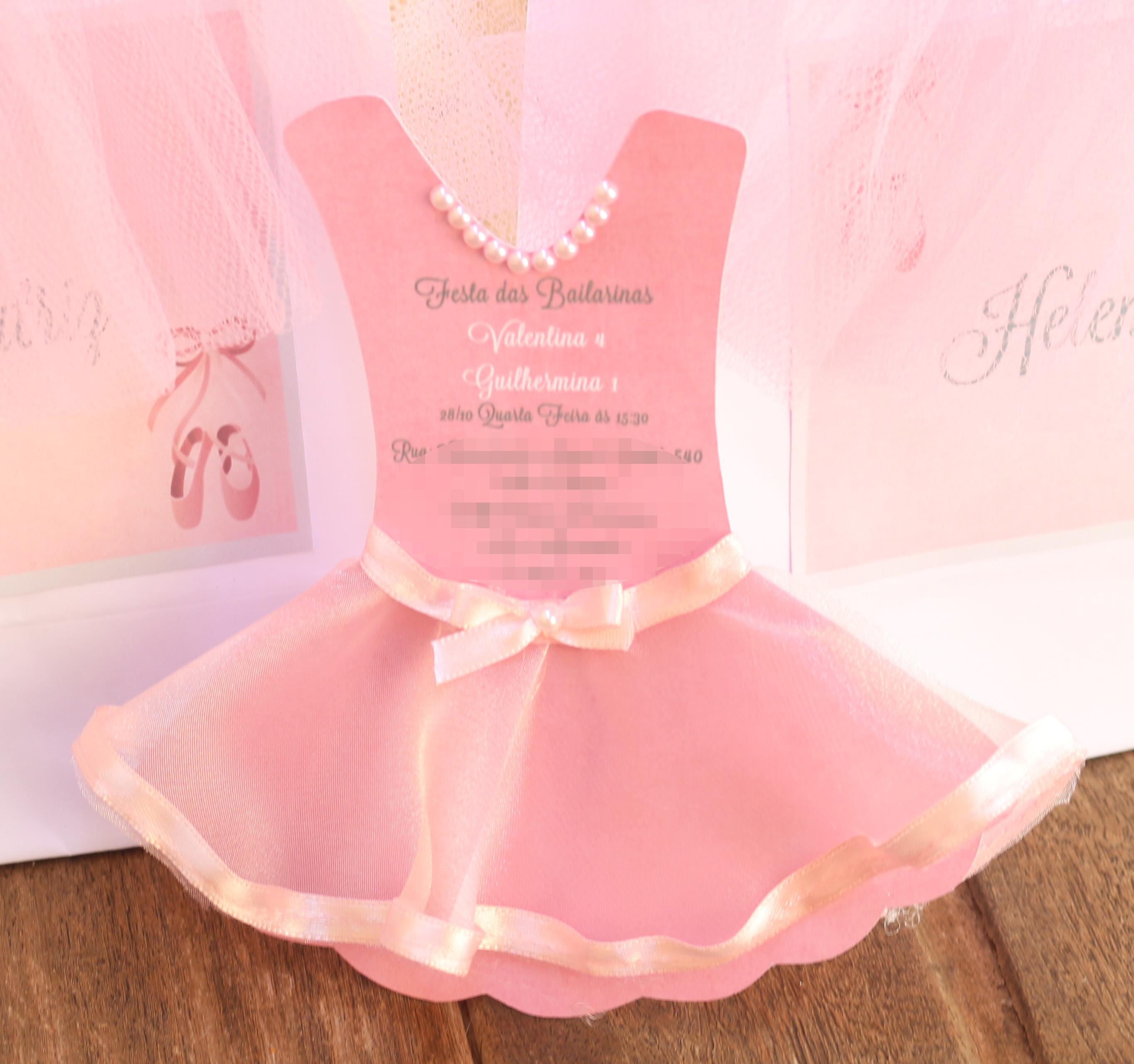 Muitas vezes Convite Vestido da Bailarina | Elo7 MJ19