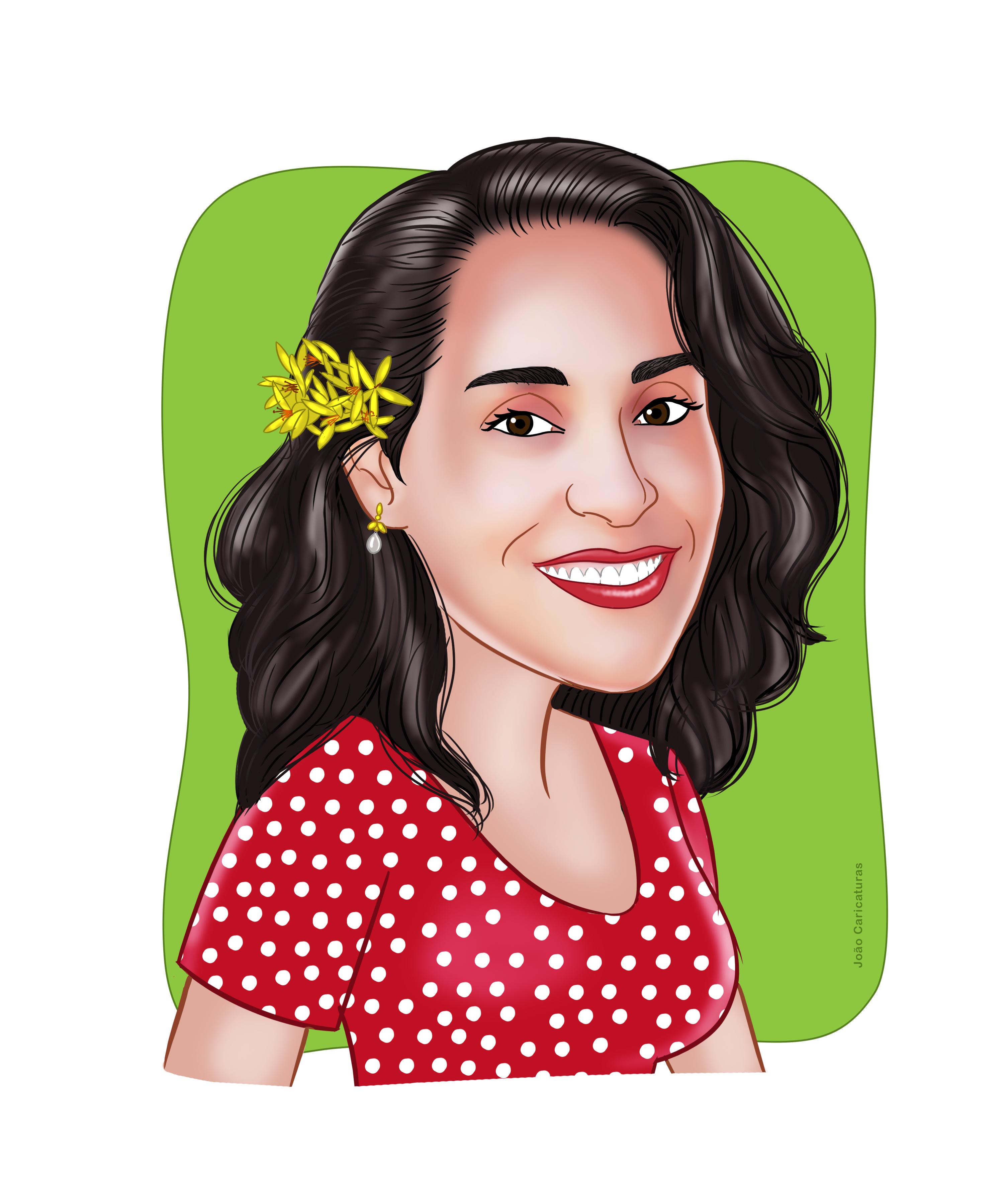Linda Caricatura Colorid De Rosto Mulher Flor Cabel Delicado No